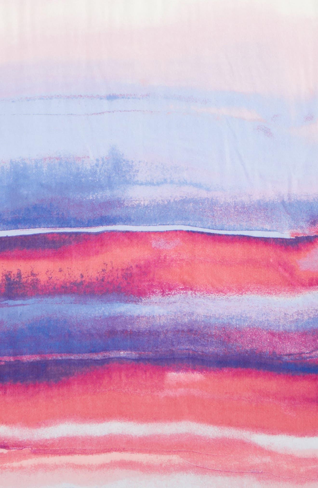 Eyelash Trim Print Cashmere & Silk Wrap,                             Alternate thumbnail 4, color,                             Purple Artist Landscape