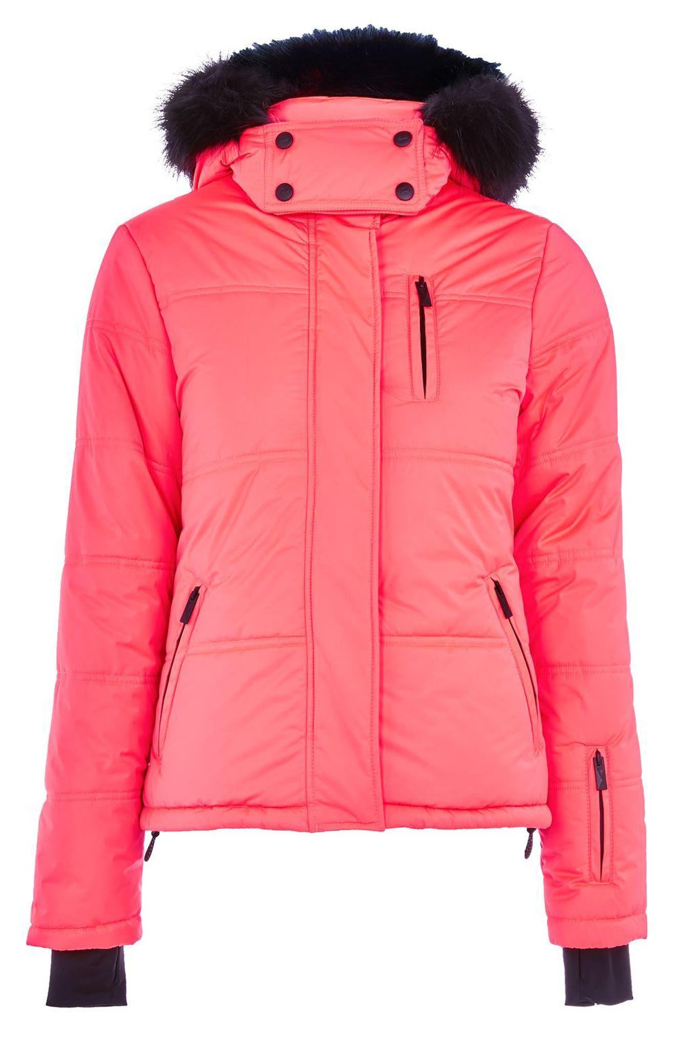 Alternate Image 5  - Topshop SNO Rio Faux Fur Hood Neon Puffer Jacket