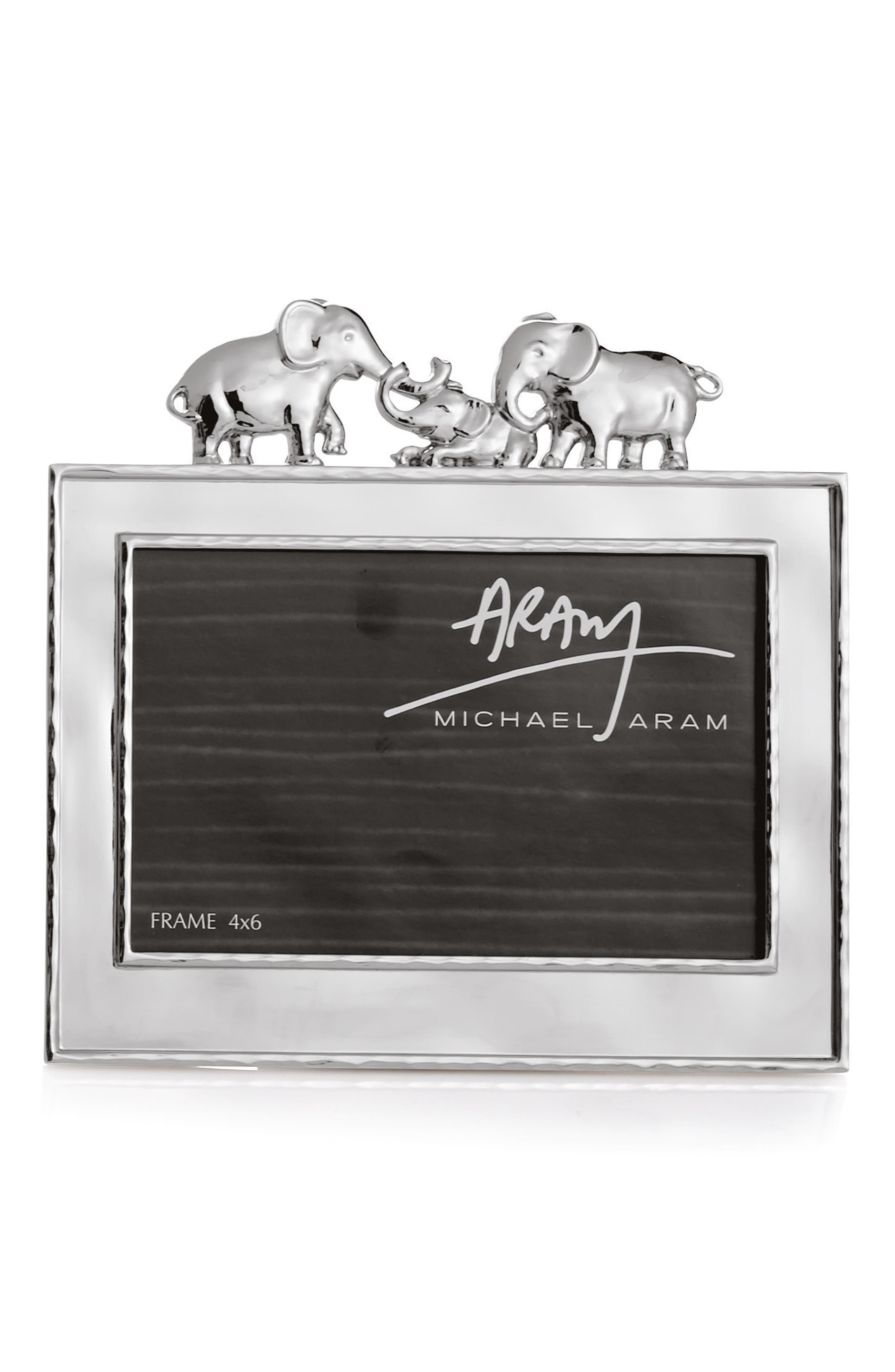 Elephants Picture Frame,                             Main thumbnail 1, color,                             Silver