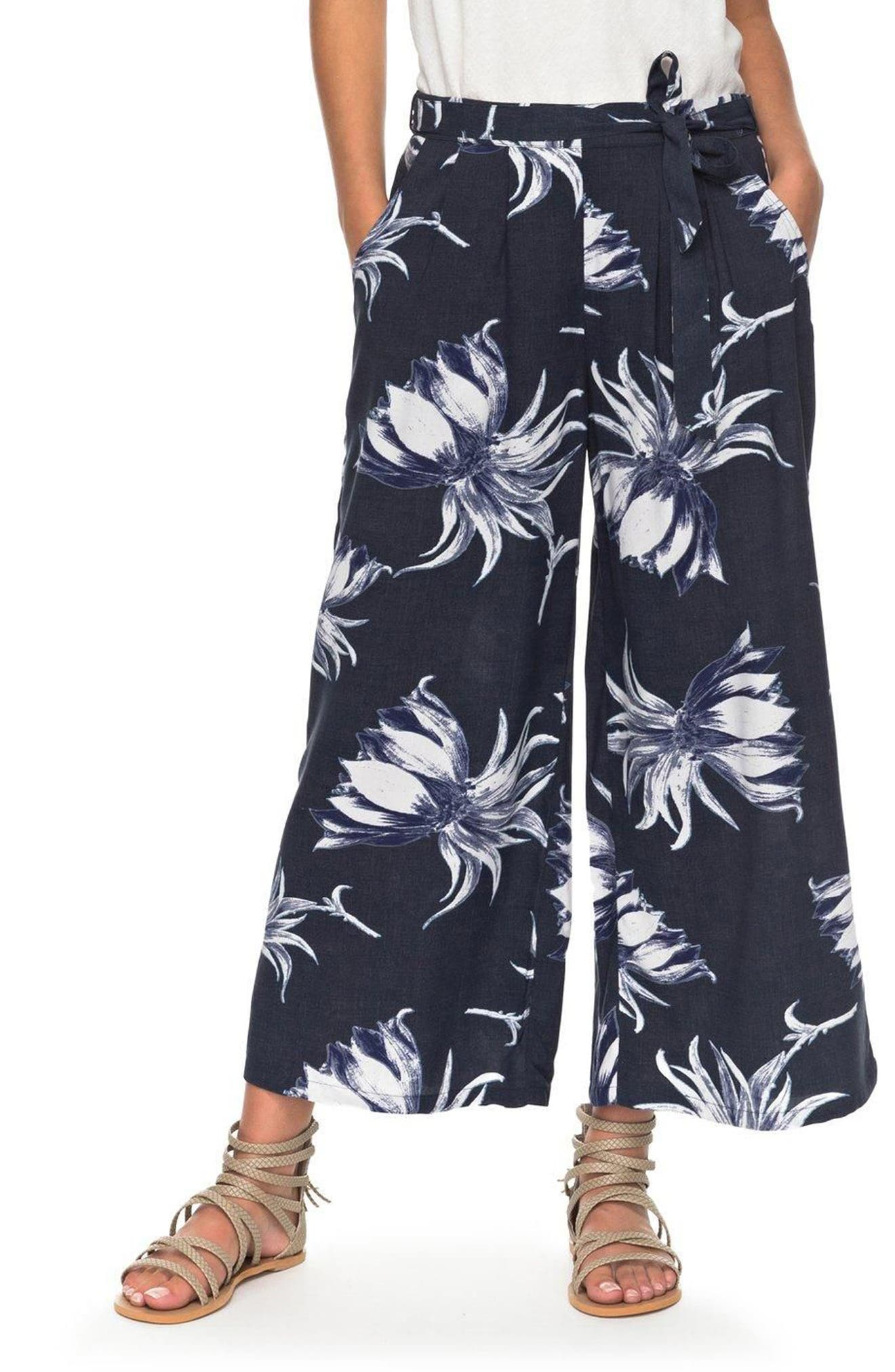 Ready Beachy Vibes Print Culottes,                         Main,                         color, Dress Blue Cadaques Flower