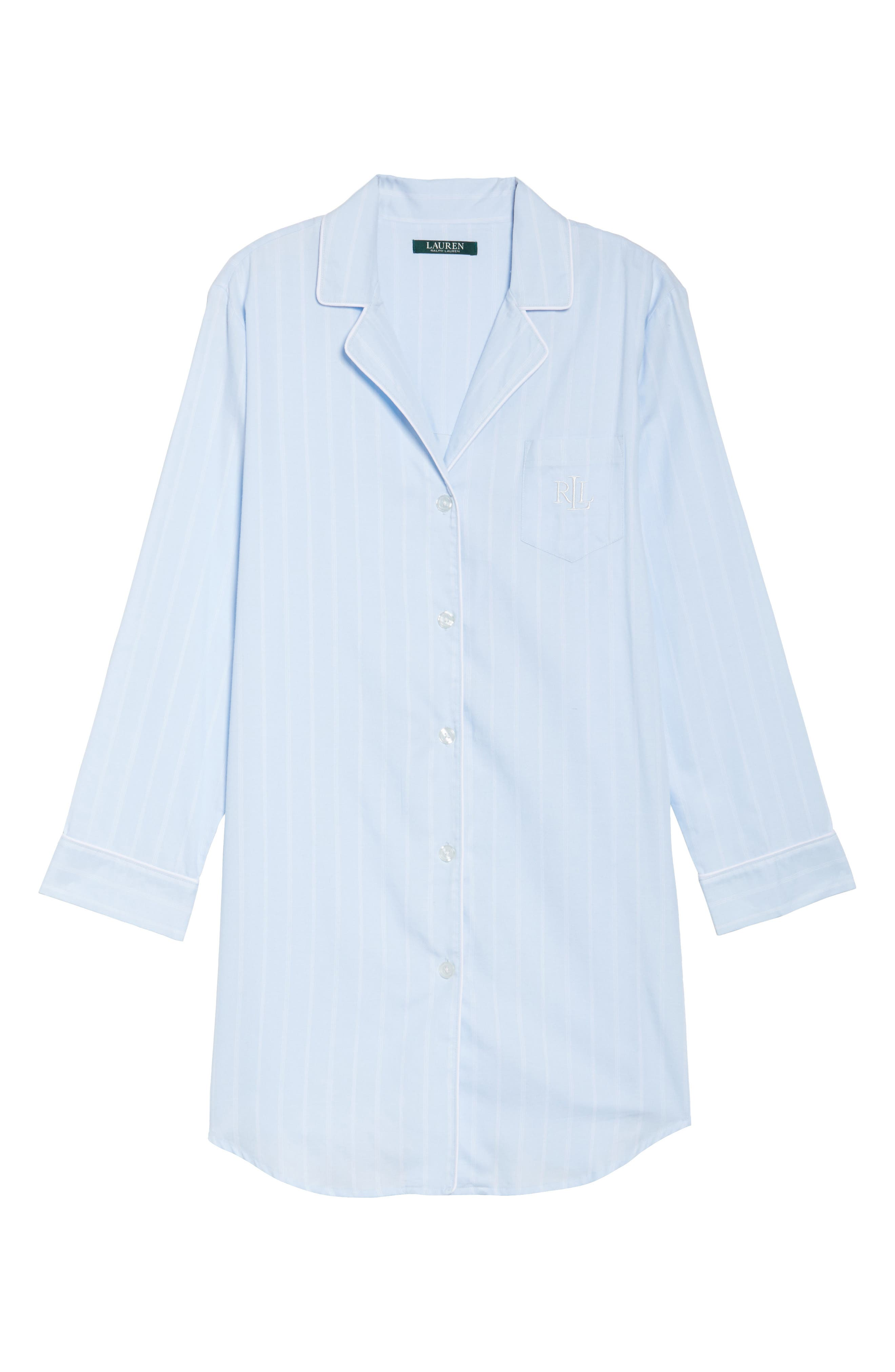 Notch Collar Sleep Shirt,                             Alternate thumbnail 6, color,                             Blue Pin Stripe