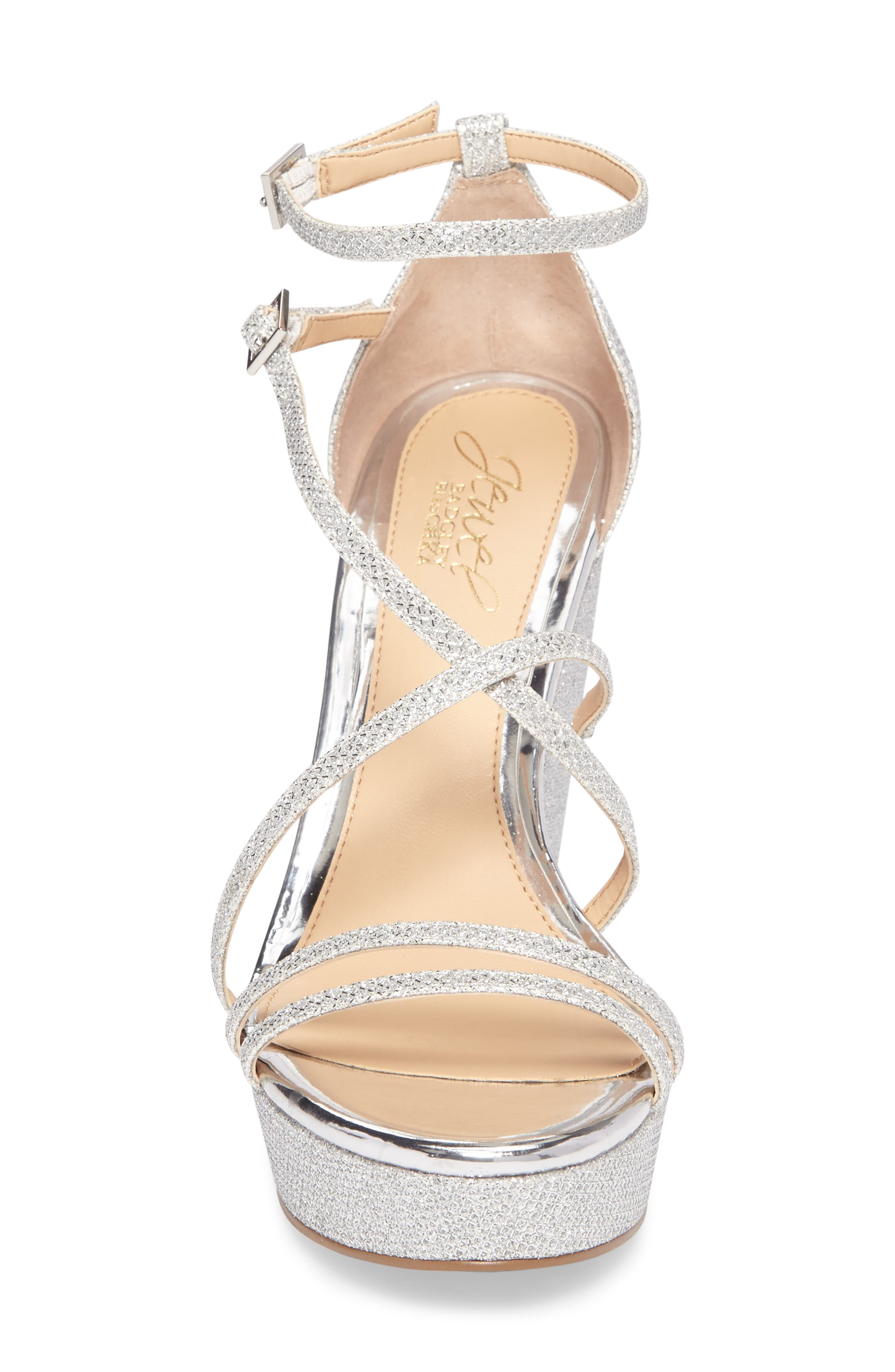 Tatsu Wedge Sandal,                             Alternate thumbnail 4, color,                             Silver Glitter