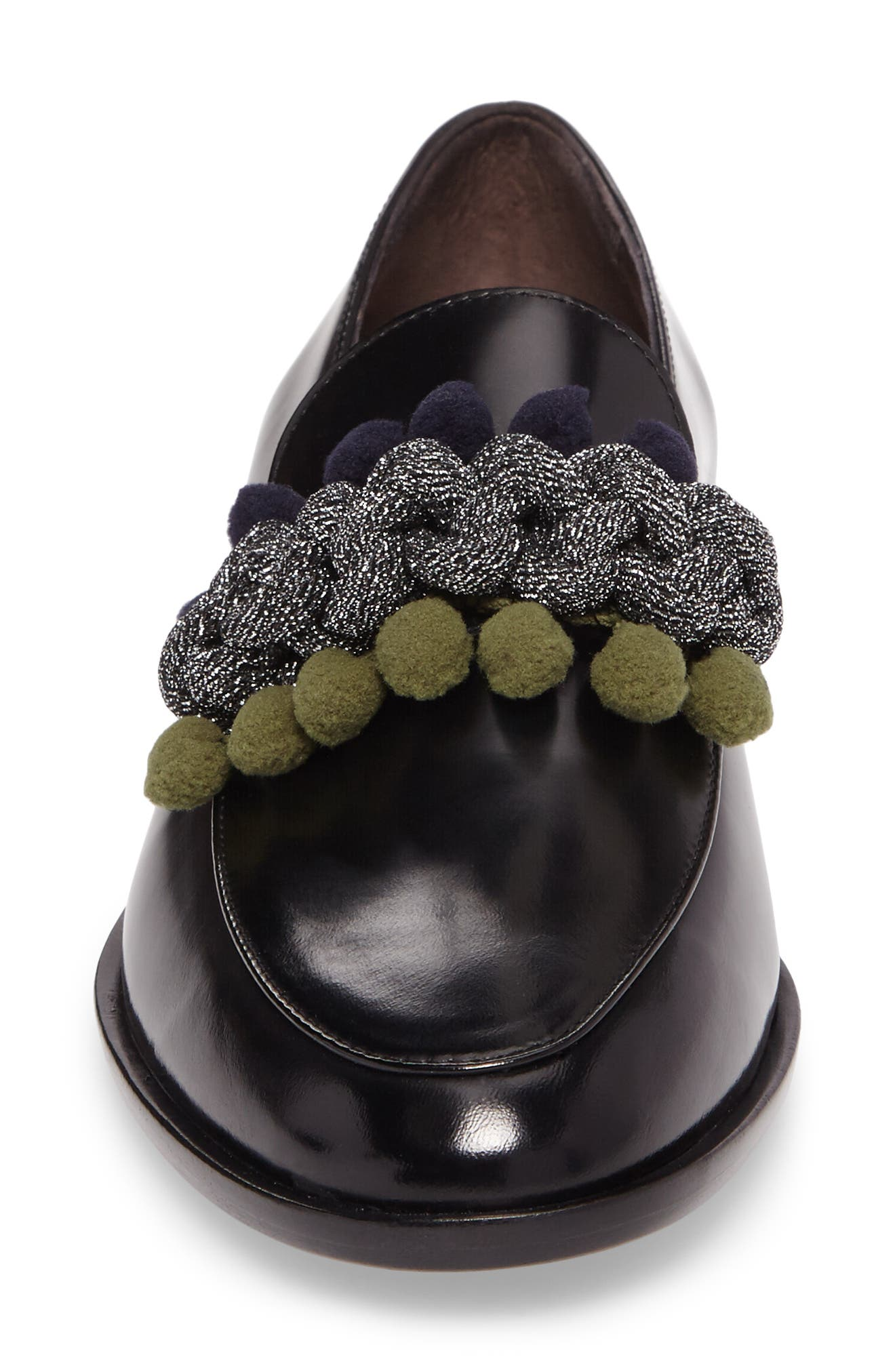 Pom Pom Loafer,                             Alternate thumbnail 4, color,                             Nero Patent