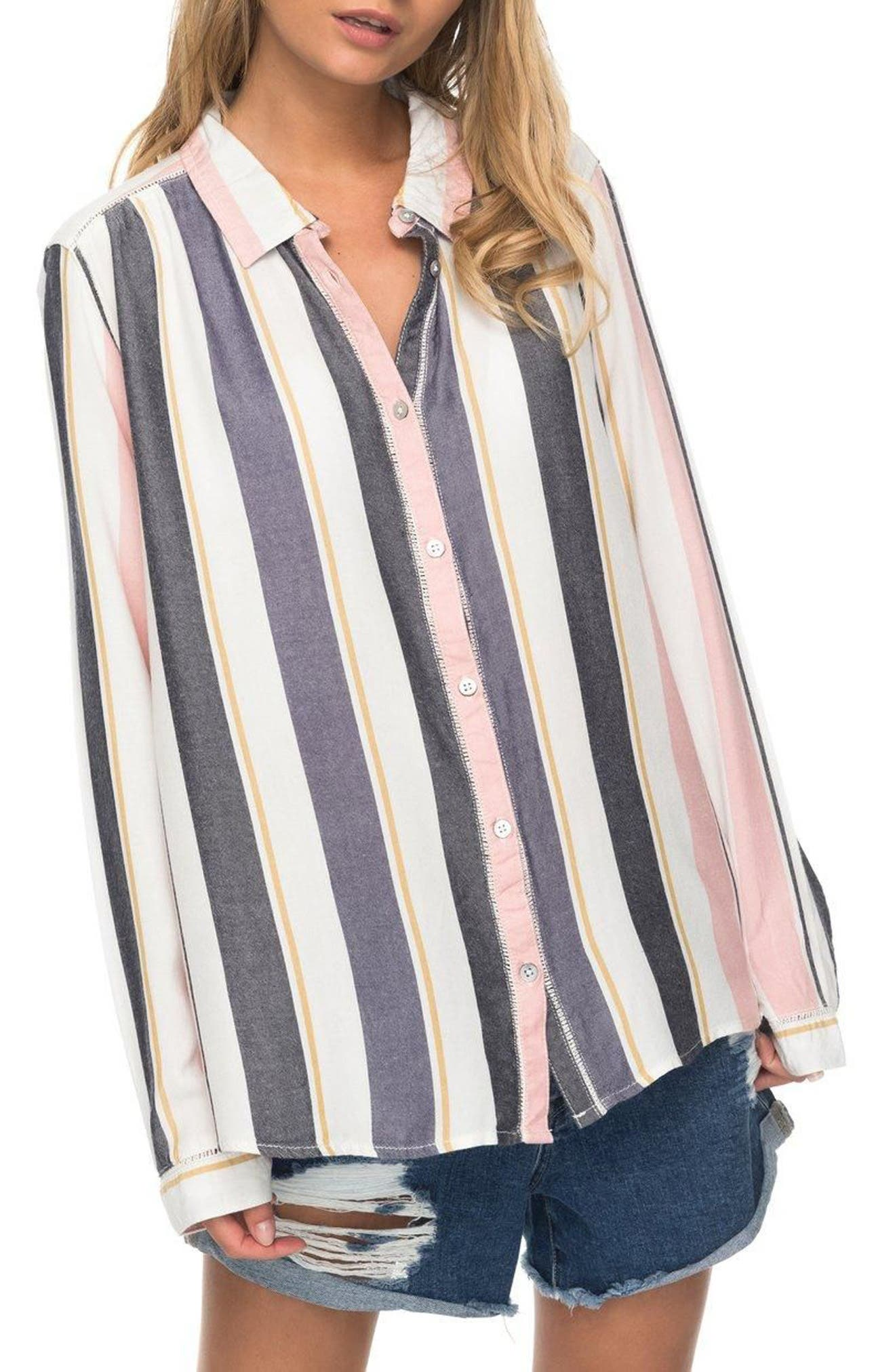 Romantic Path Button-Down Shirt,                             Main thumbnail 1, color,                             Nightshadow On The Road Stripe