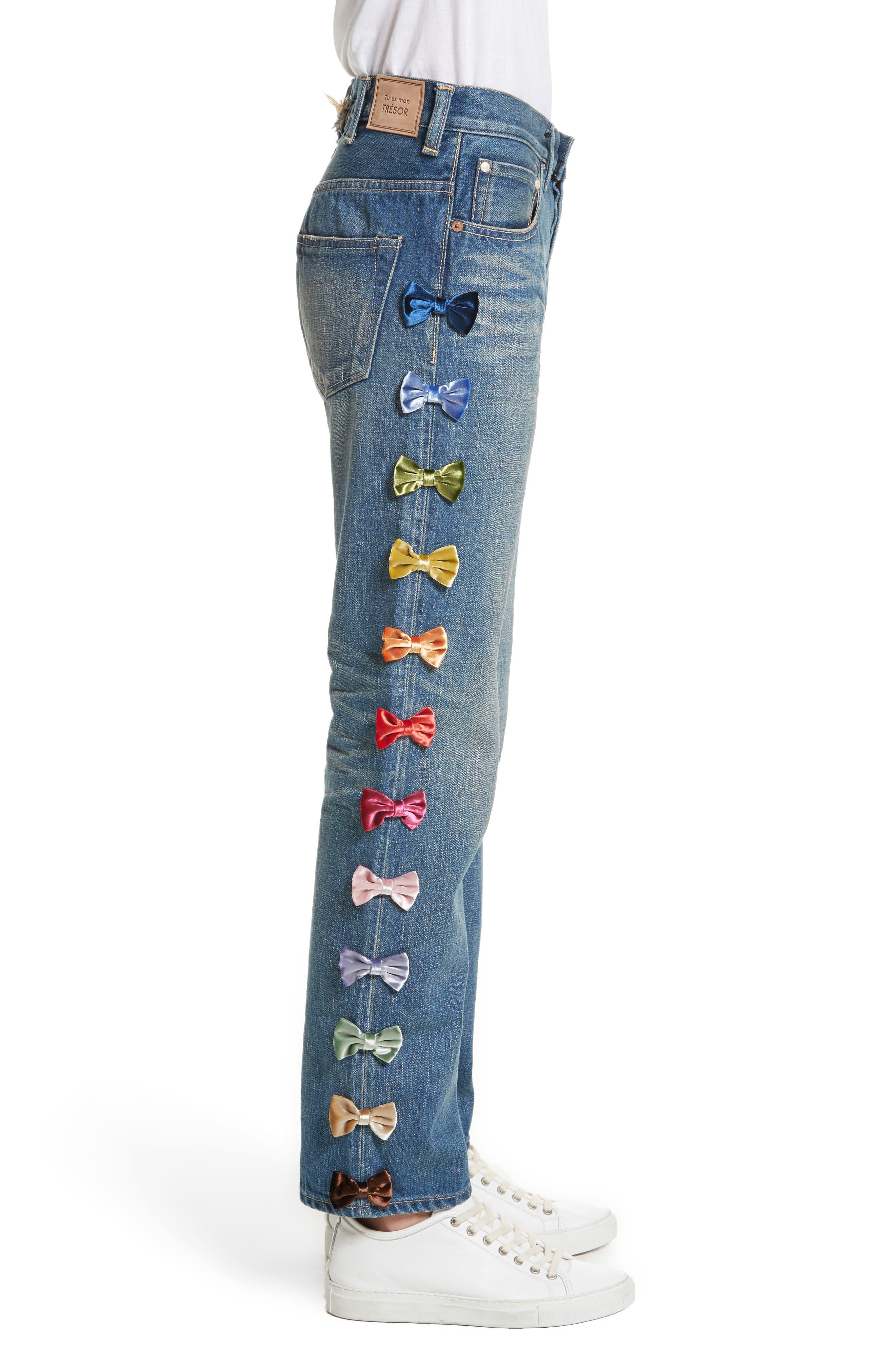 Alternate Image 2  - Tu es mon TRESOR Velvet Side Bow Jeans