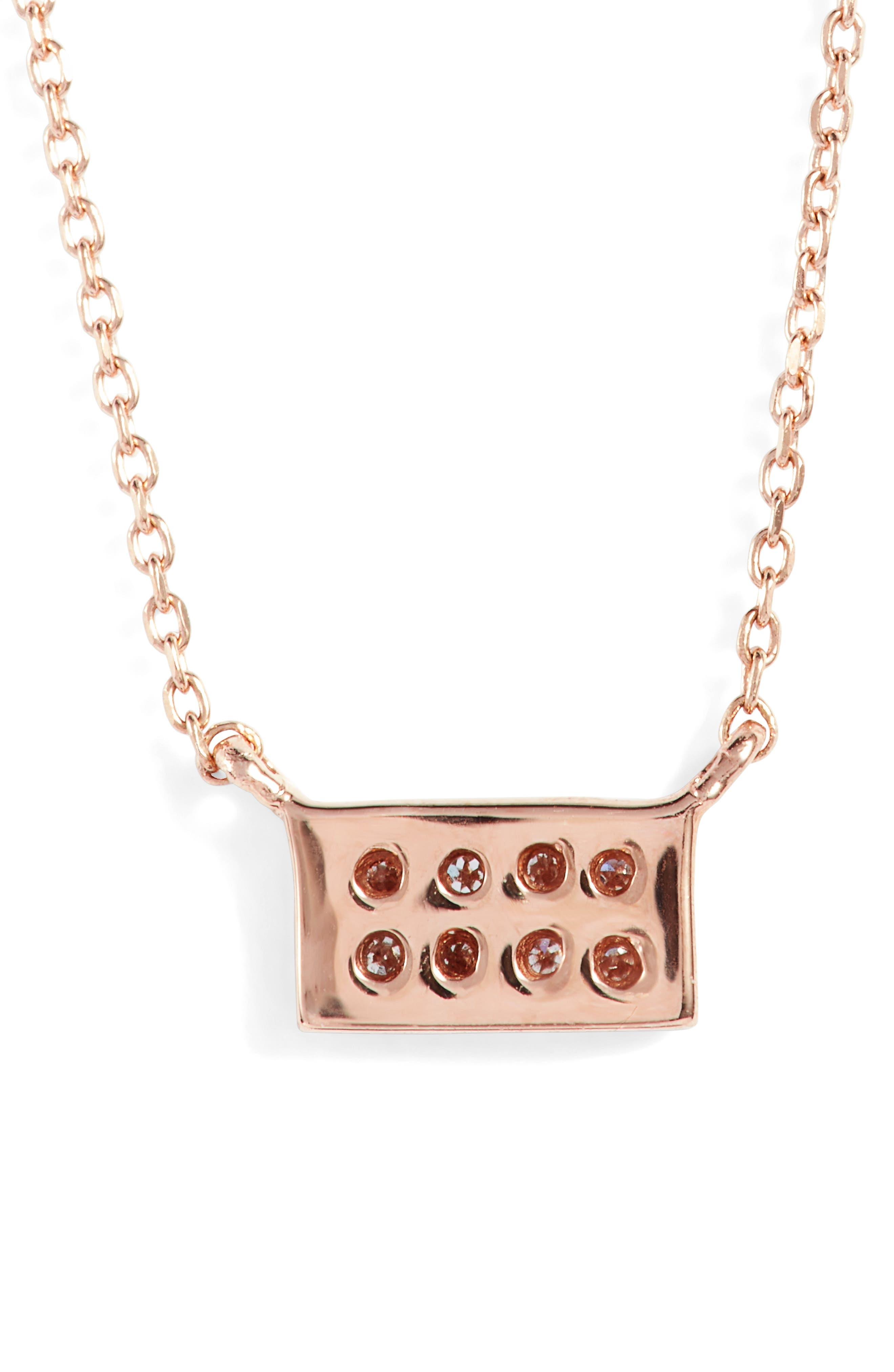 'Katie' Diamond Bar Pendant Necklace,                             Alternate thumbnail 4, color,                             Rose Gold