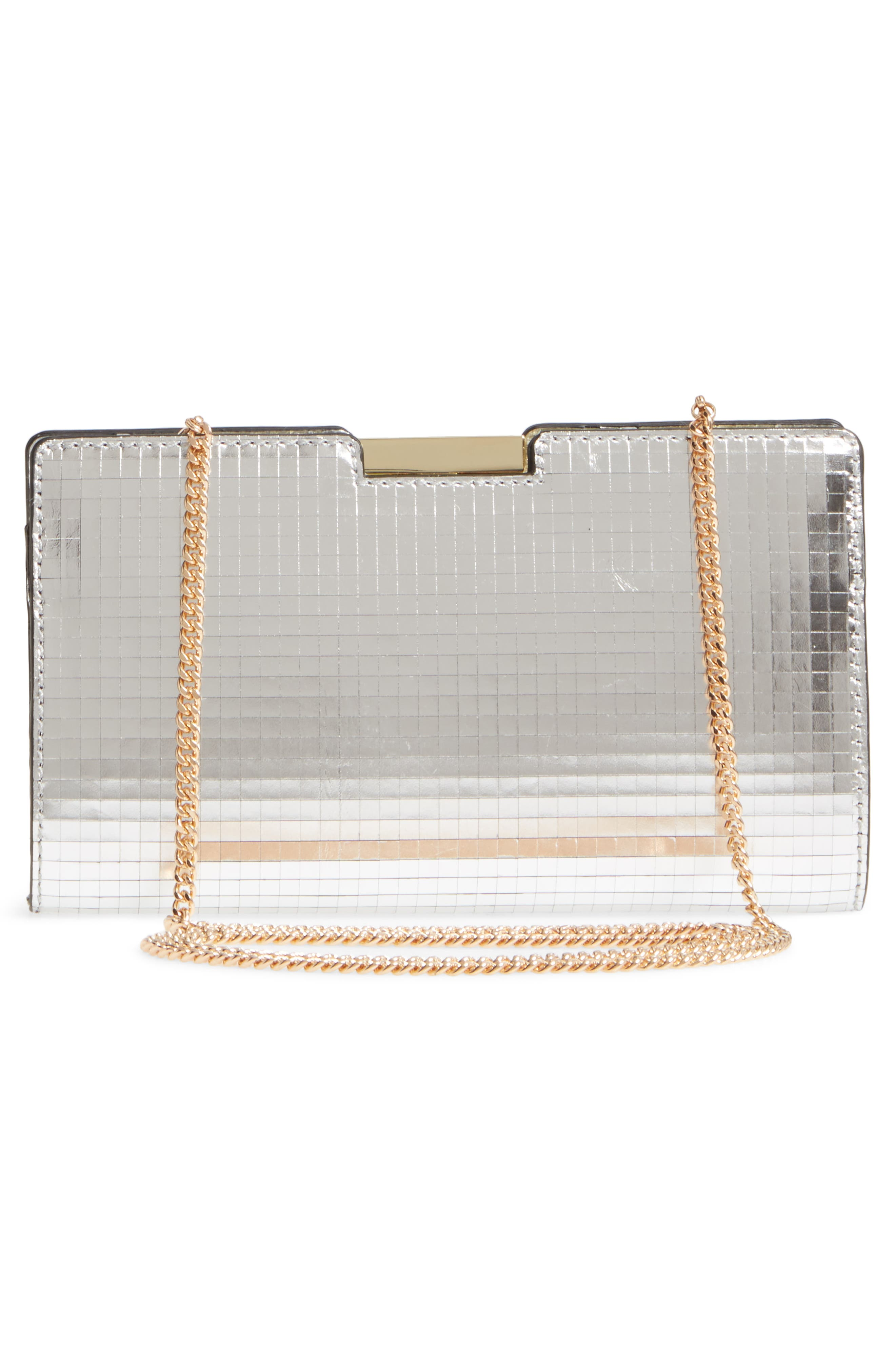 Small Mirror Mosaic Leather Frame Clutch,                             Alternate thumbnail 3, color,                             Silver