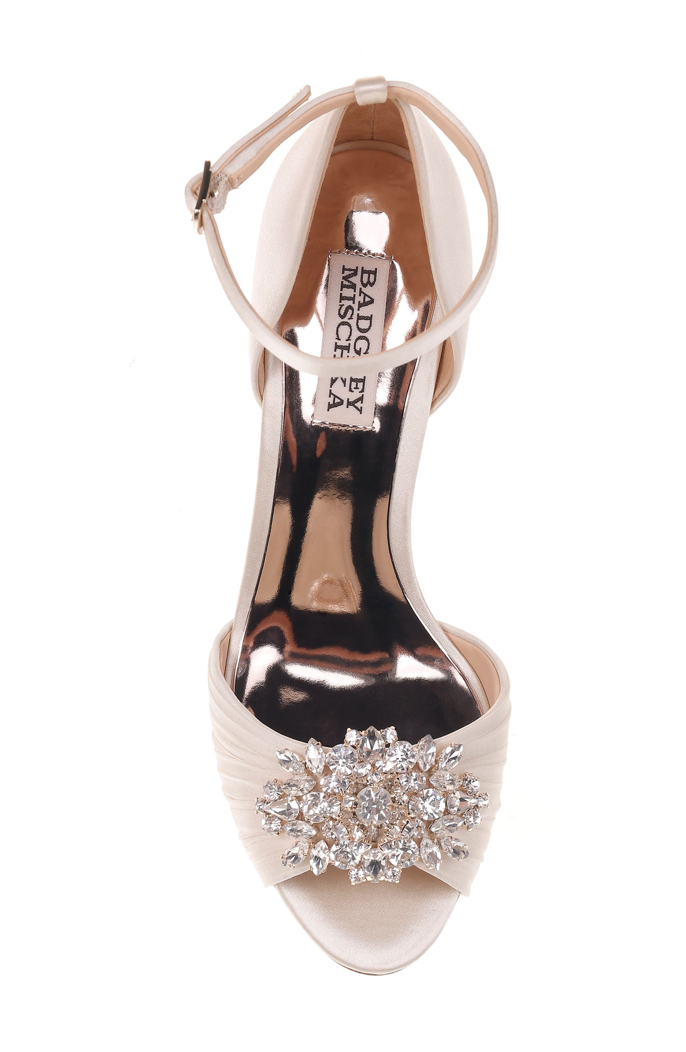 Sabrina Ankle Strap Sandal,                             Alternate thumbnail 5, color,                             Ivory Satin