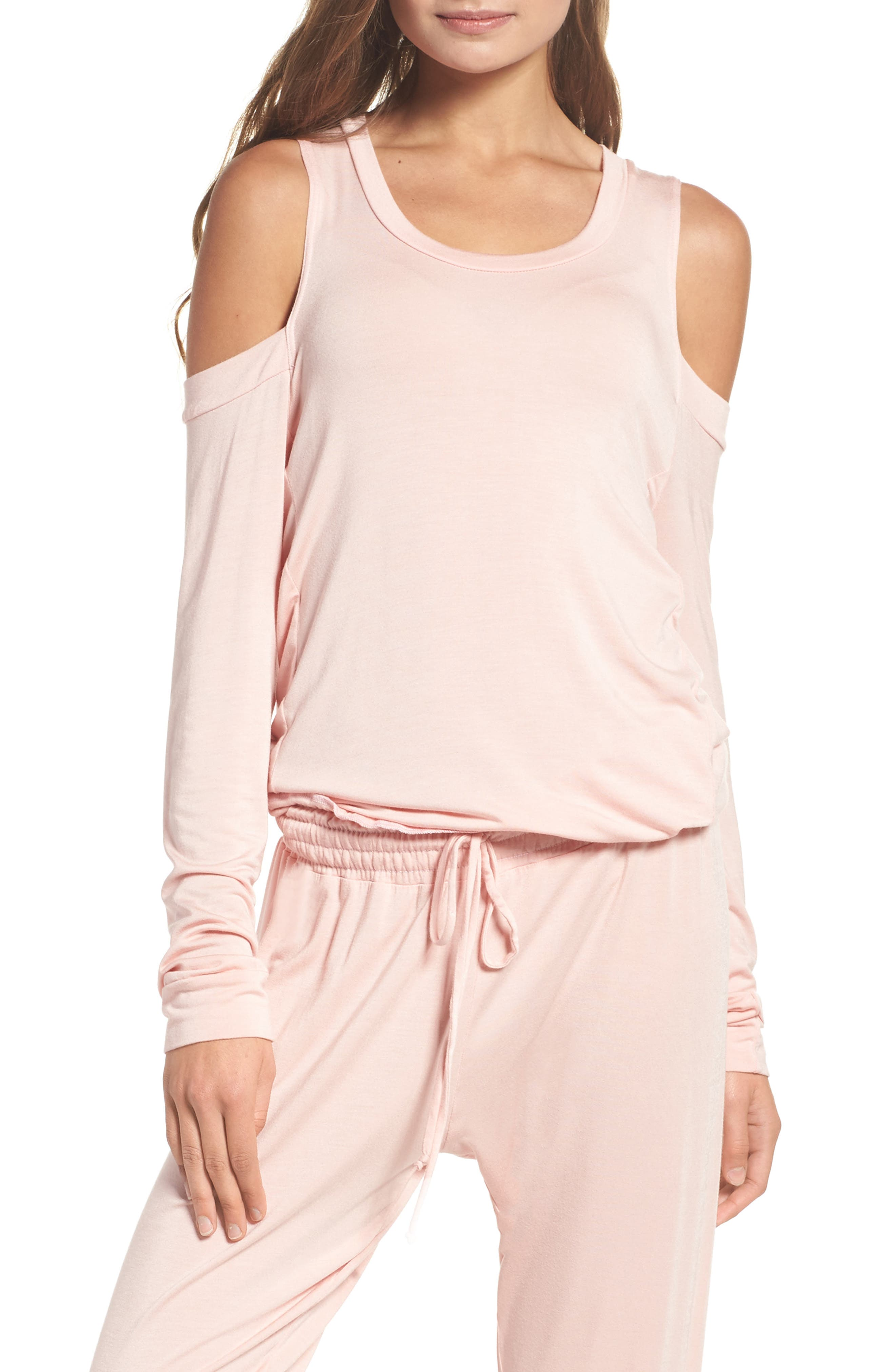 Roma Cold Shoulder Pullover,                             Main thumbnail 1, color,                             Dream Pink
