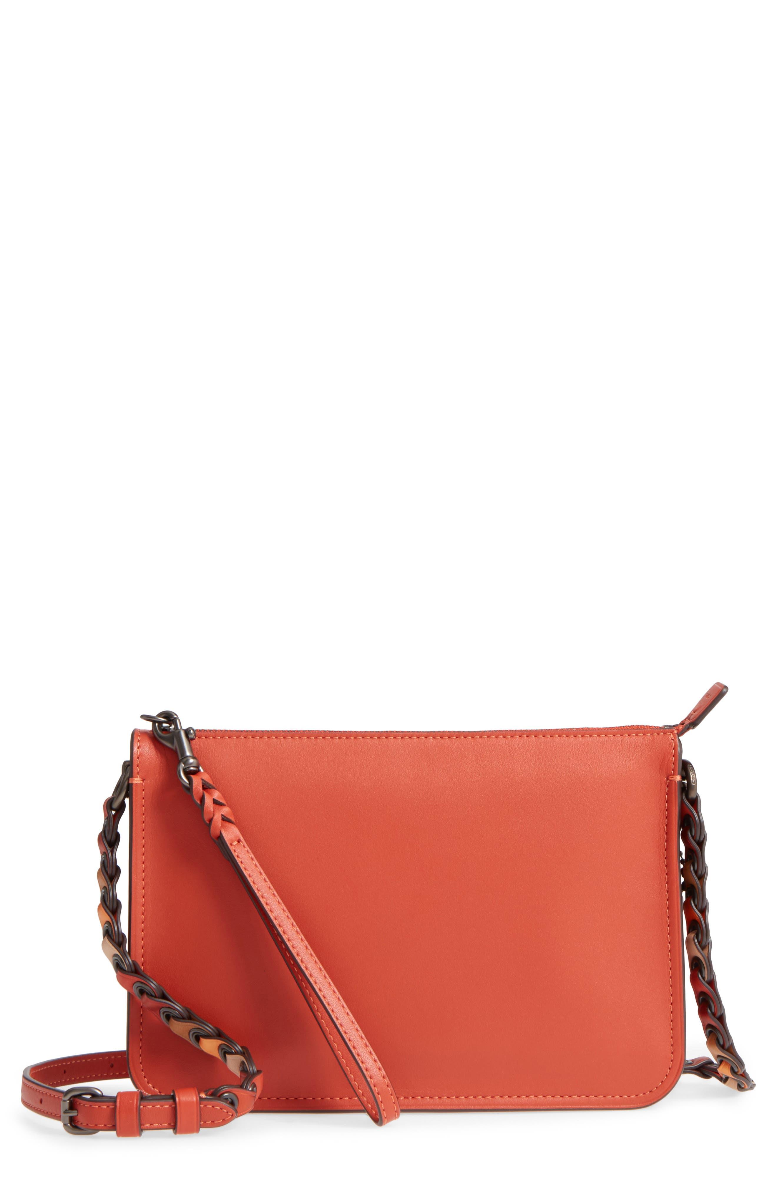 Soho Leather Crossbody Bag,                         Main,                         color, Vermillion