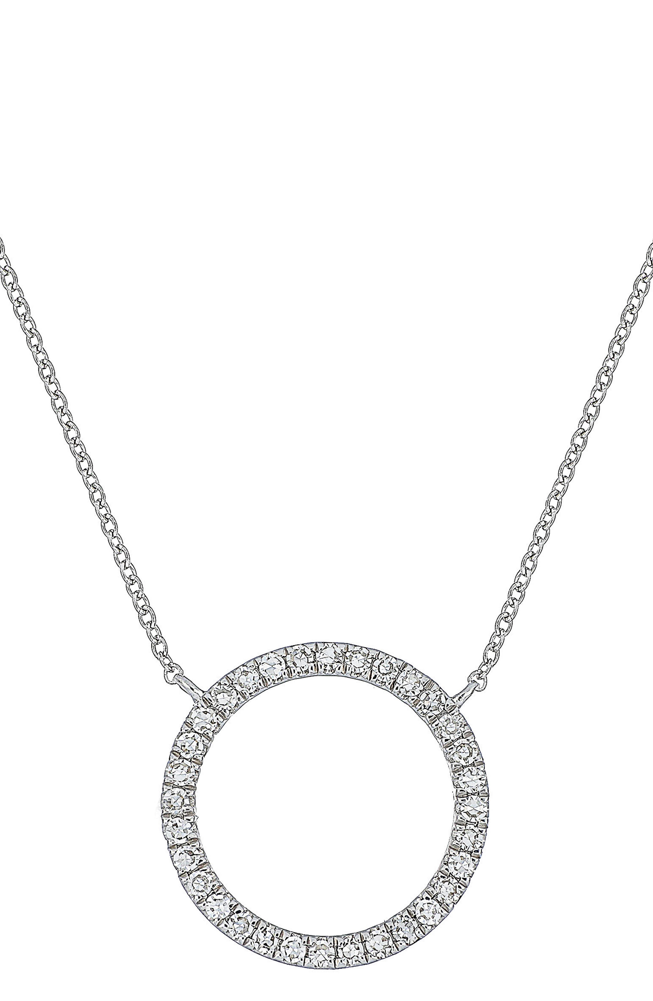 Carrière Diamond Circle Pendant Necklace,                         Main,                         color, Silver/ Diamond
