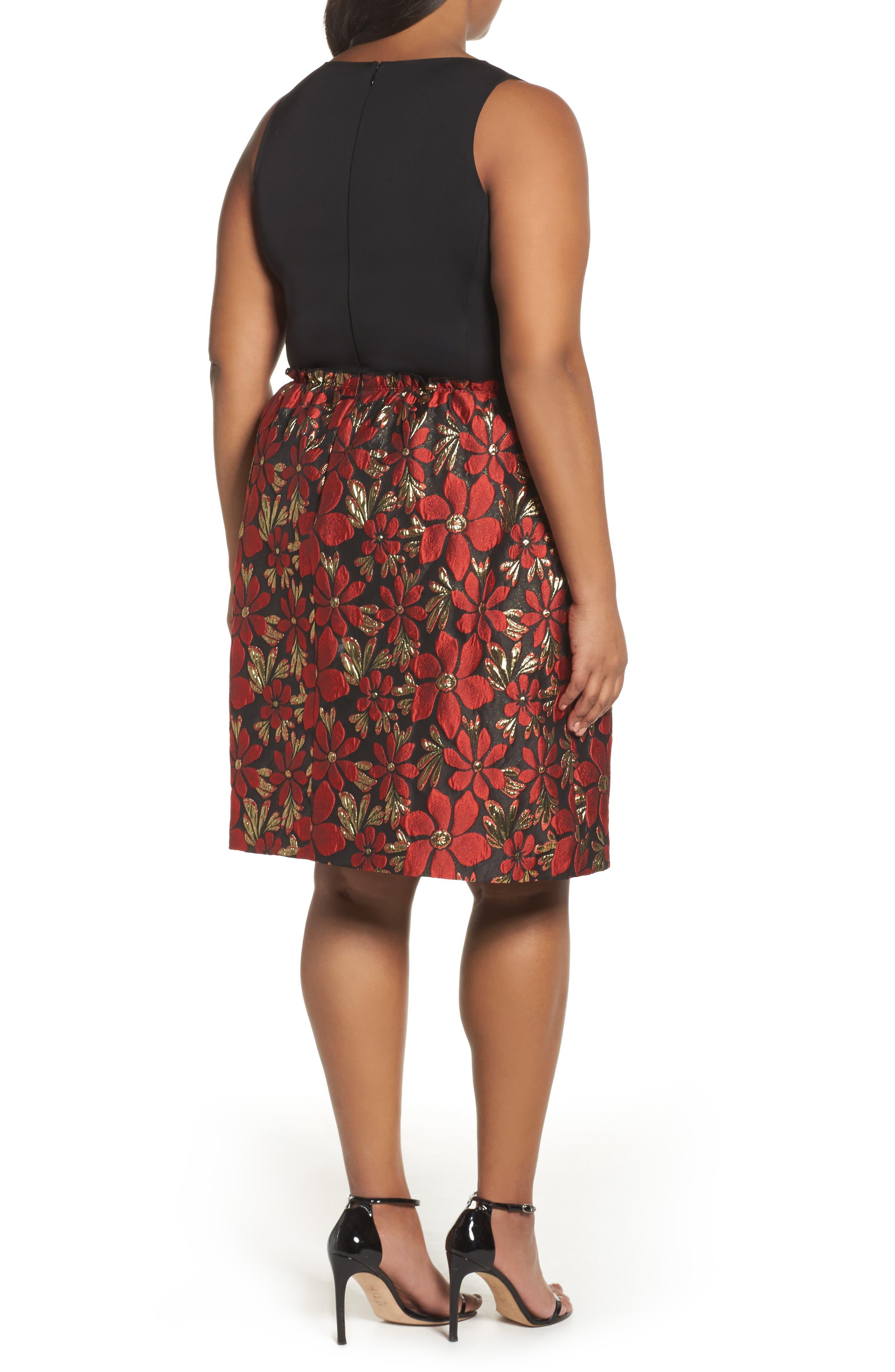 Sleeveless Jacquard Fit & Flare Dress,                             Alternate thumbnail 2, color,                             Black/ Red/ Gold