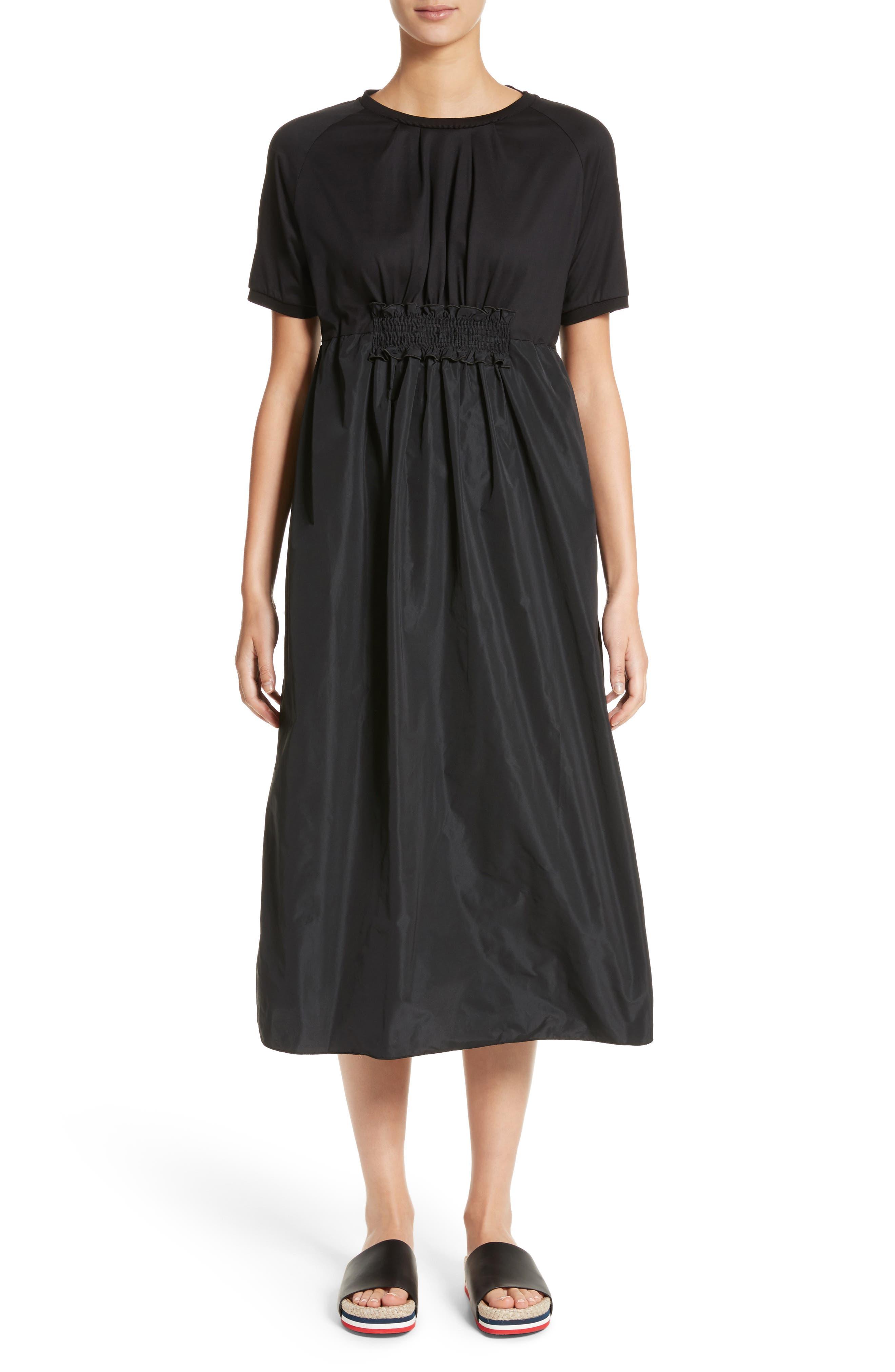 Abito Shirred Midi Dress,                         Main,                         color, Black