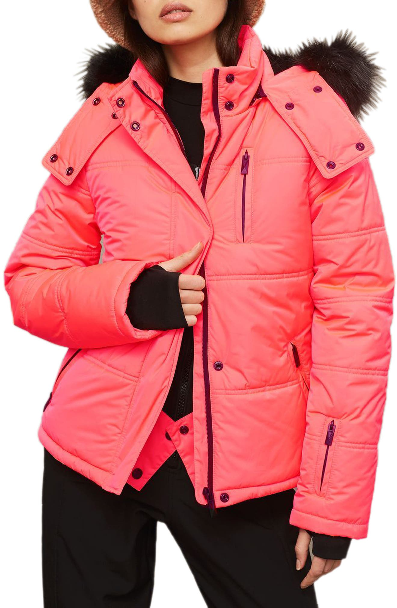 SNO Rio Faux Fur Hood Neon Puffer Jacket,                         Main,                         color, Pink
