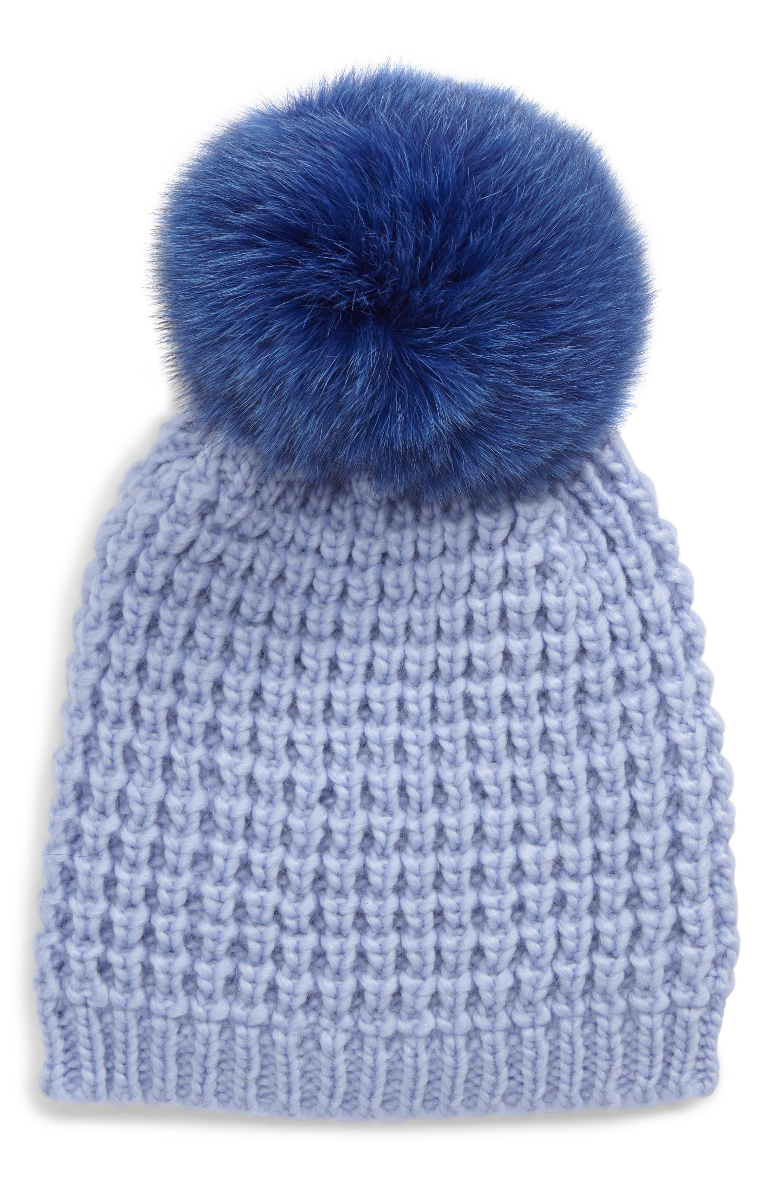 Genuine Fox Pompom Hat,                         Main,                         color, Serenity/ Cobalt