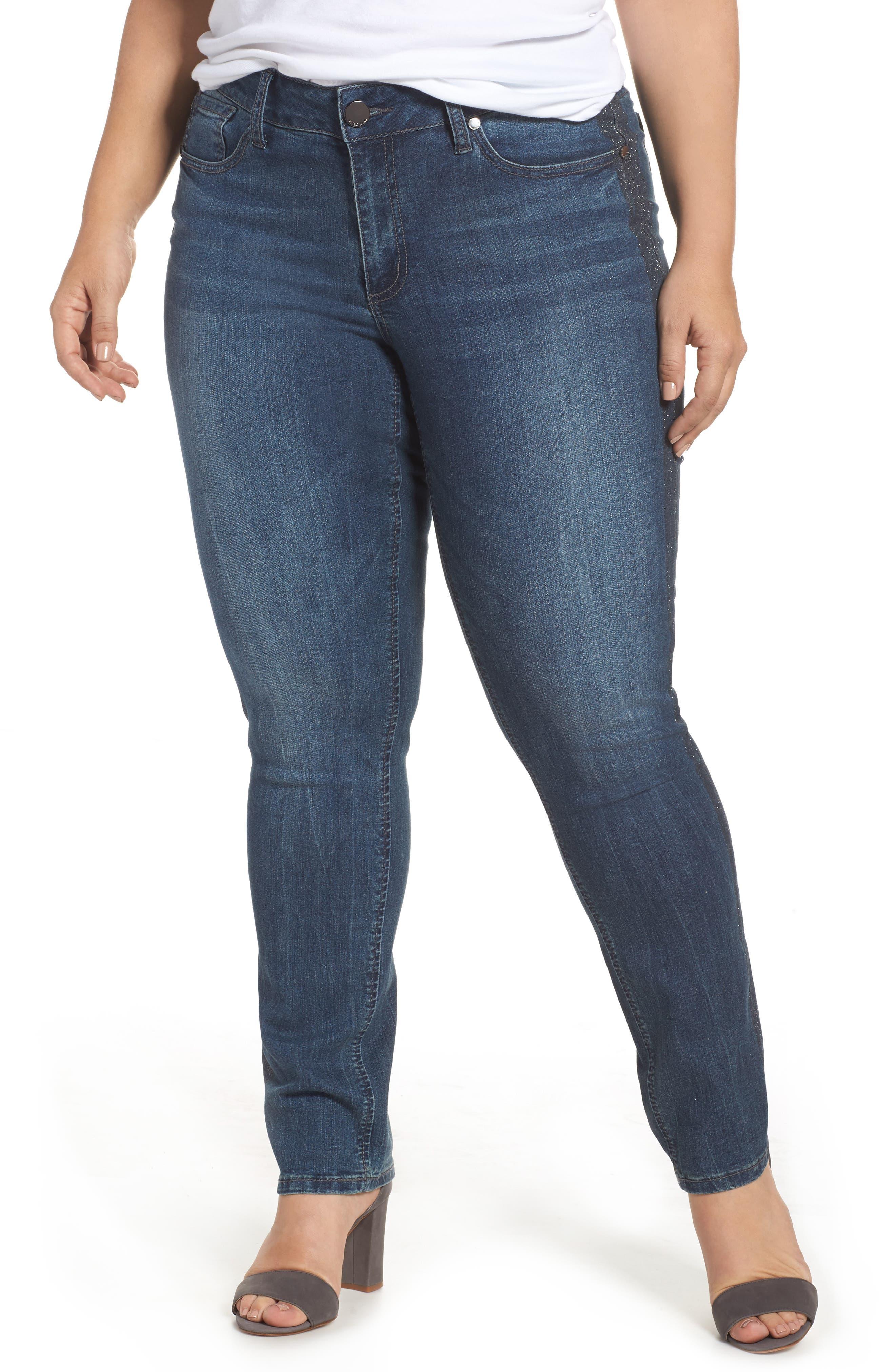 Main Image - Seven7 Printed Foil Tuxedo Stripe Skinny Jeans (Locke) (Plus Size)