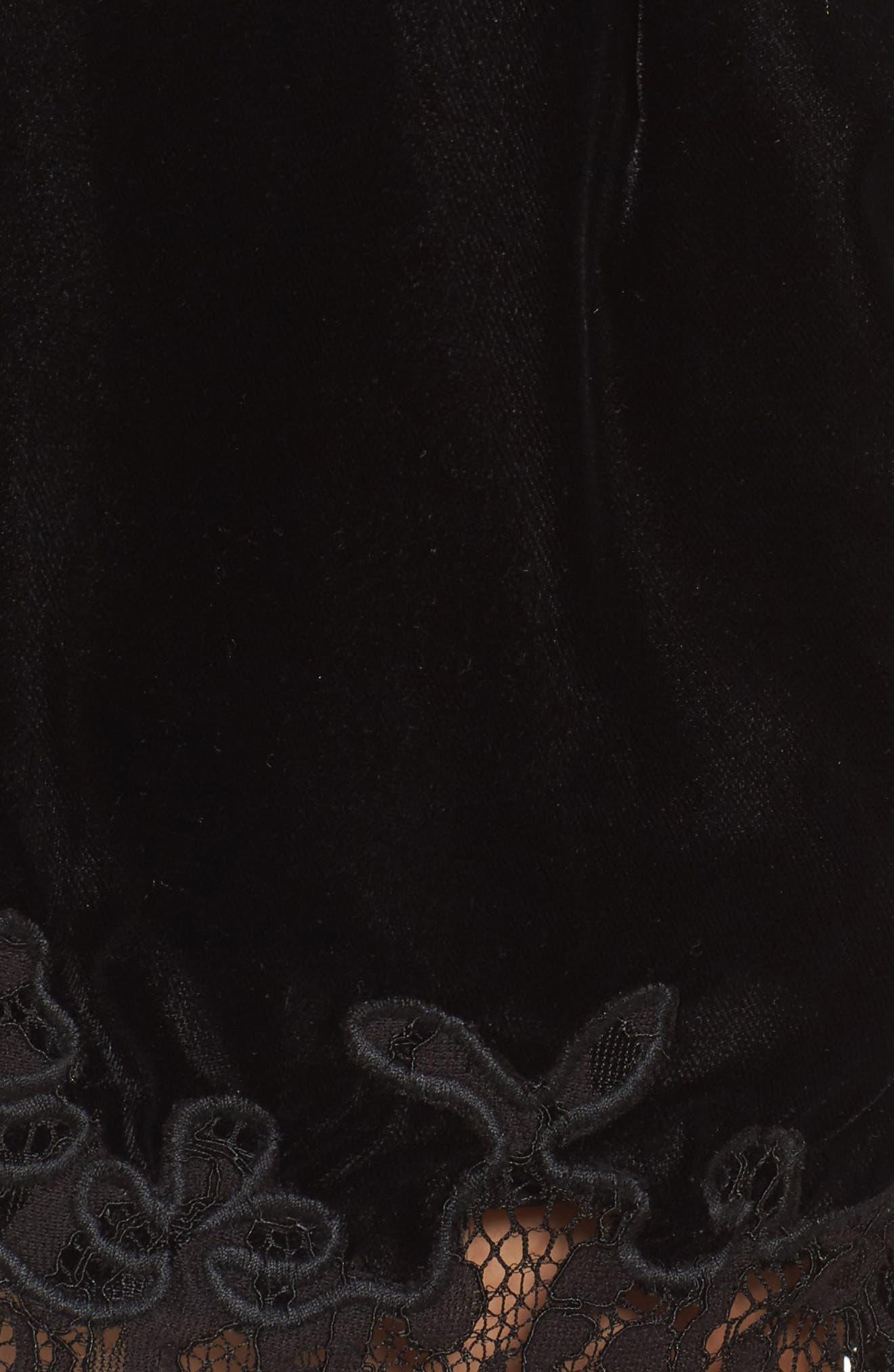 Amelia Lace & Velvet Shorts,                             Alternate thumbnail 5, color,                             Black