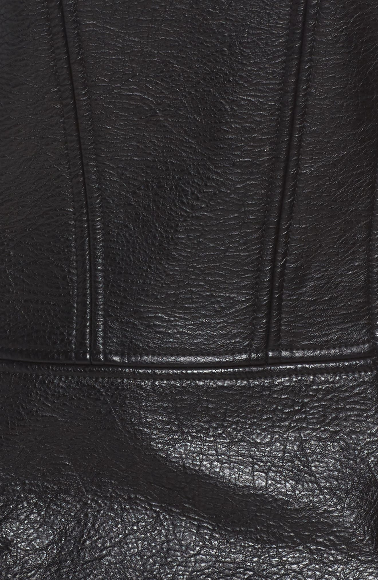 Faux Leather Hooded Moto Jacket,                             Alternate thumbnail 6, color,                             Black