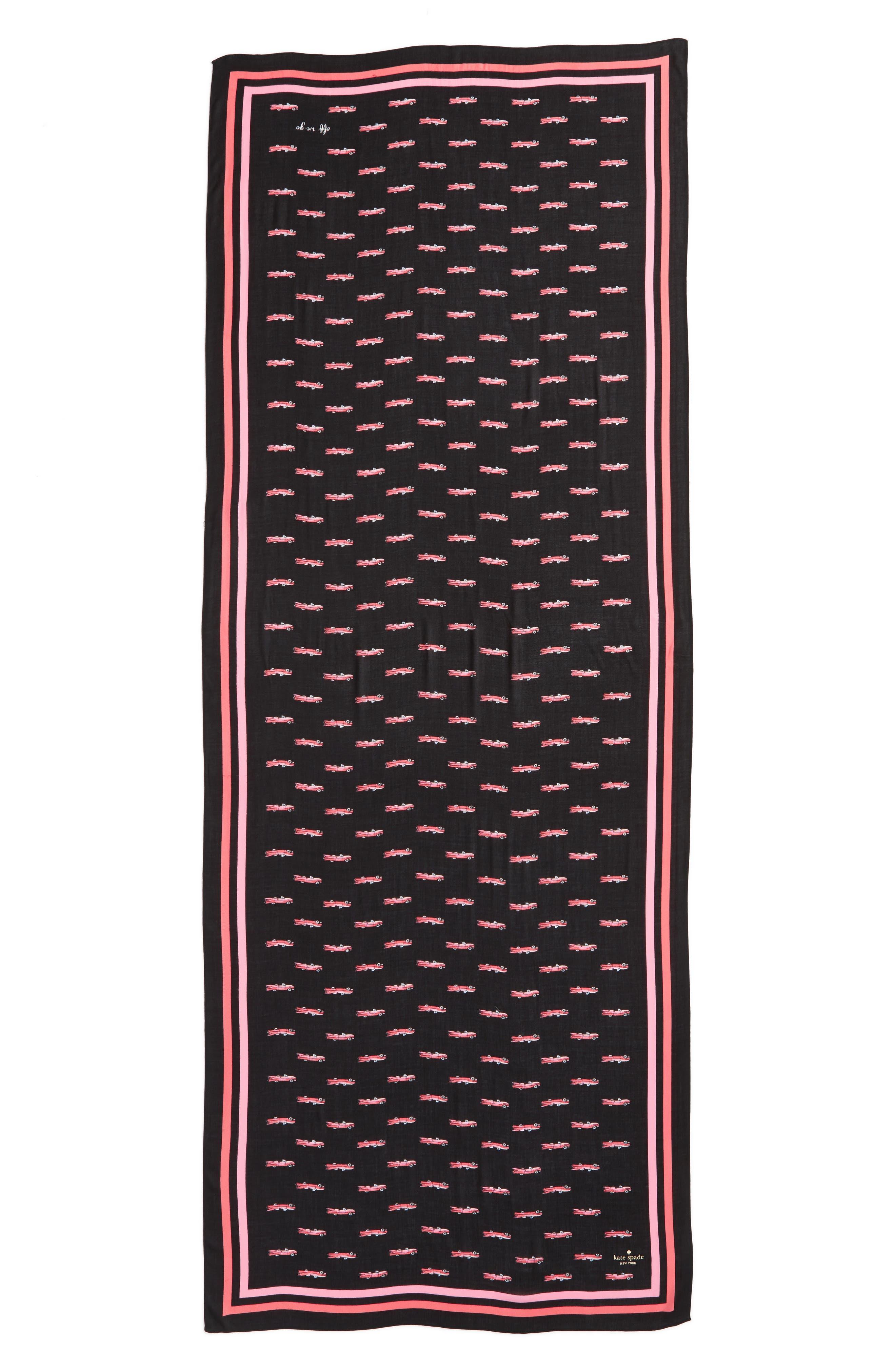 hot rod oblong scarf,                             Alternate thumbnail 2, color,                             Black