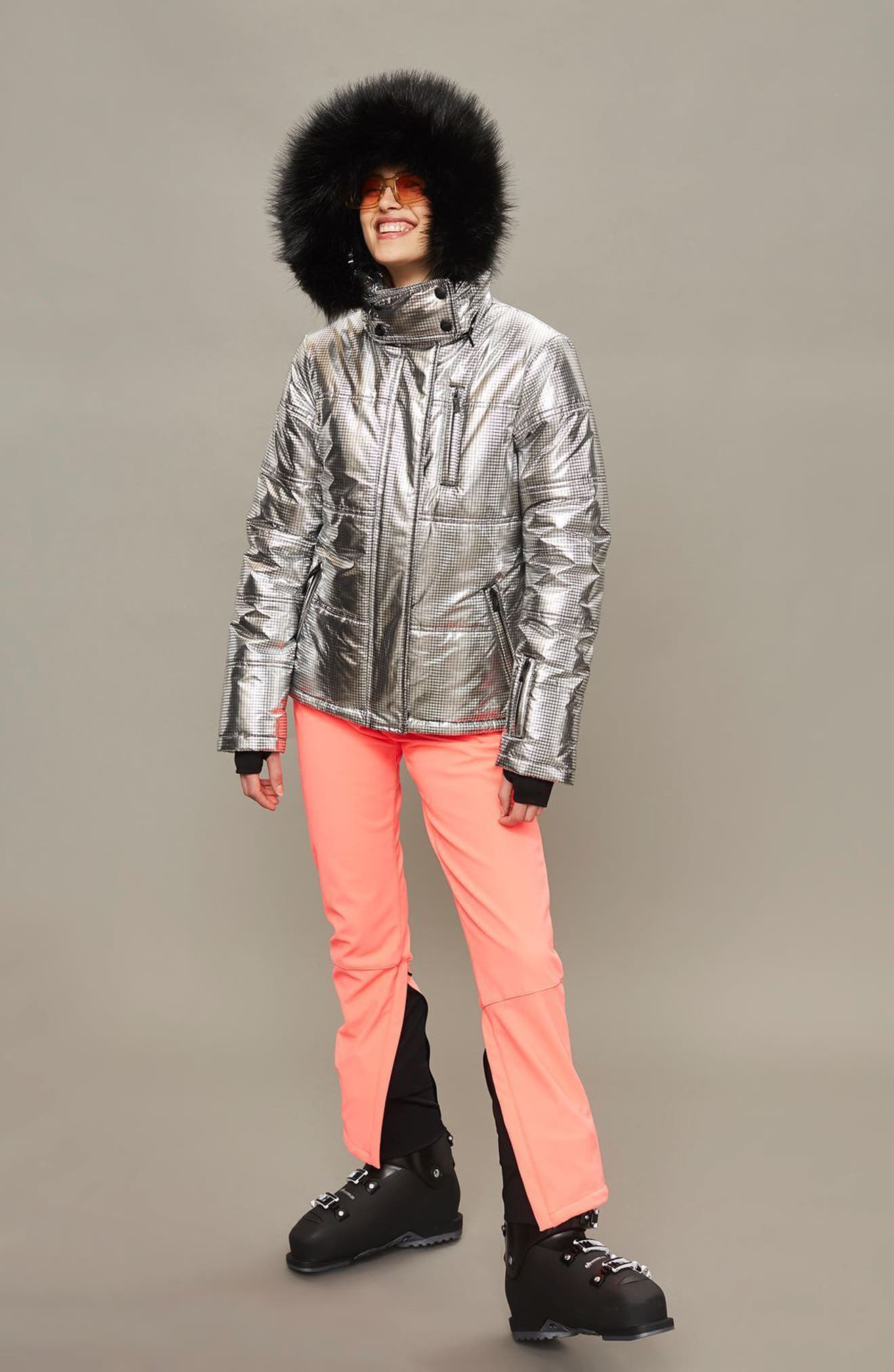 SNO Rio Faux Fur Hood Metallic Puffer Jacket,                             Alternate thumbnail 3, color,                             Silver