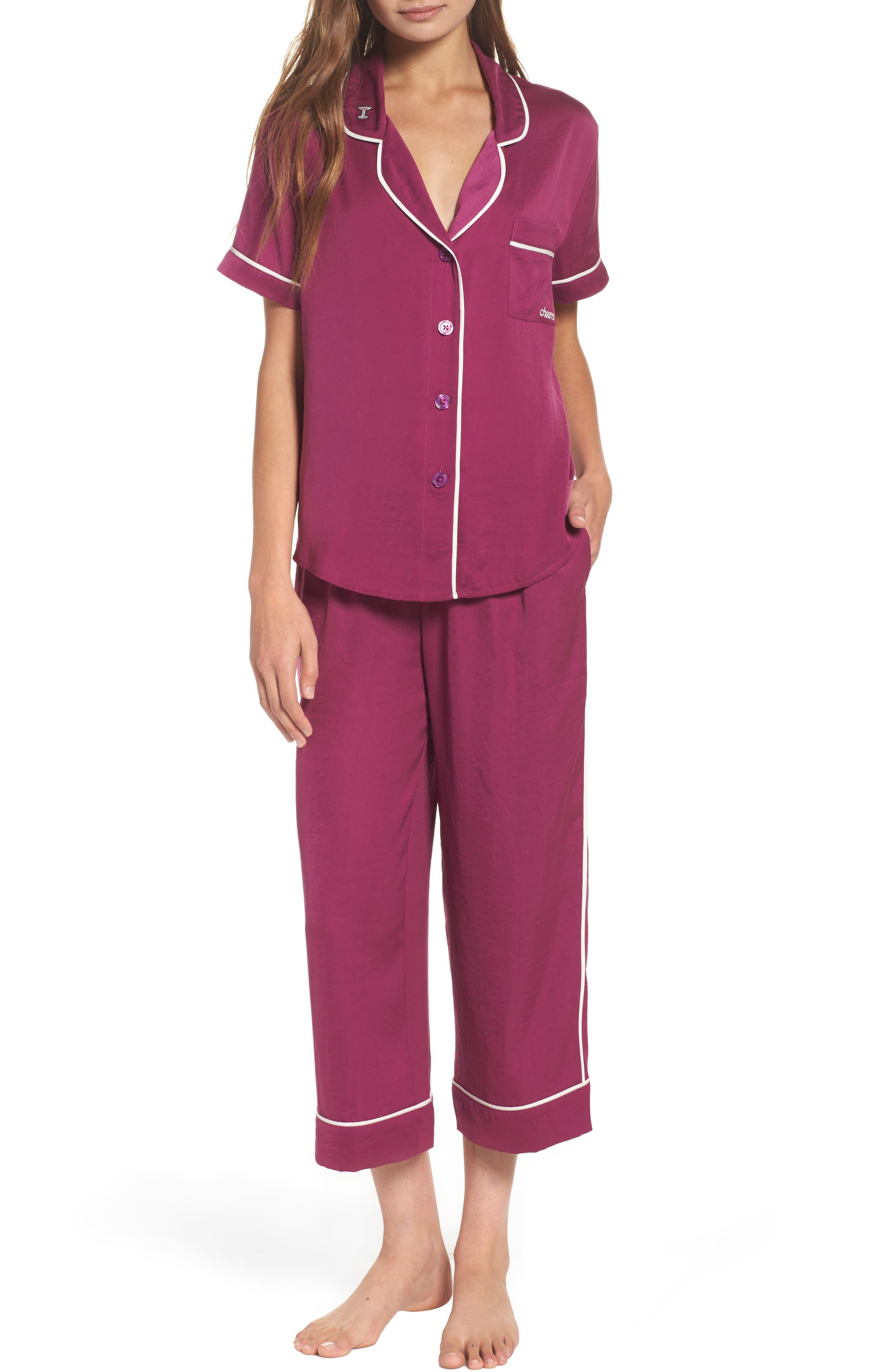 Satin Pajamas,                         Main,                         color, Purple