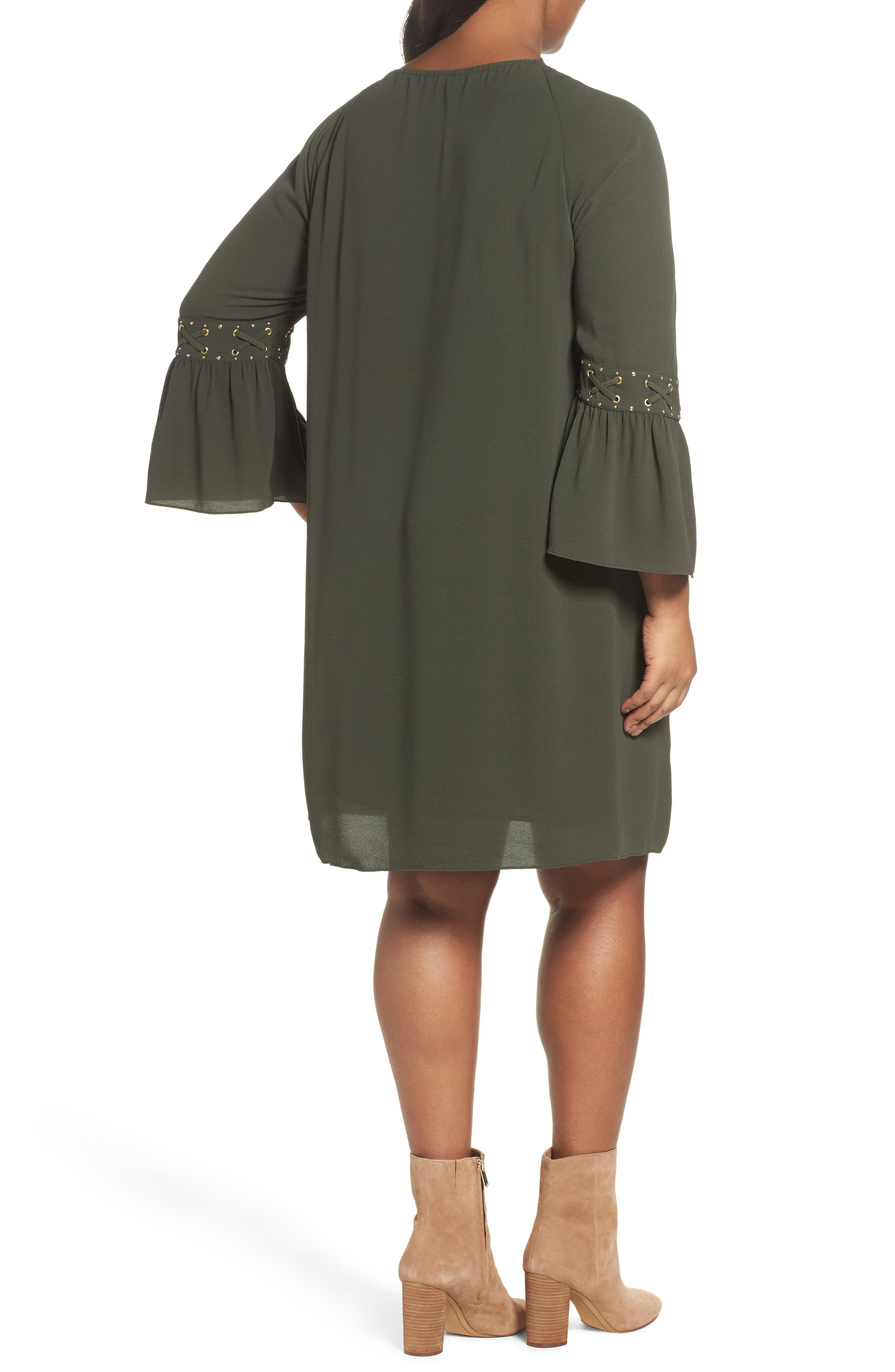 Lace-Up Sleeve Dress,                             Alternate thumbnail 2, color,                             Ivy