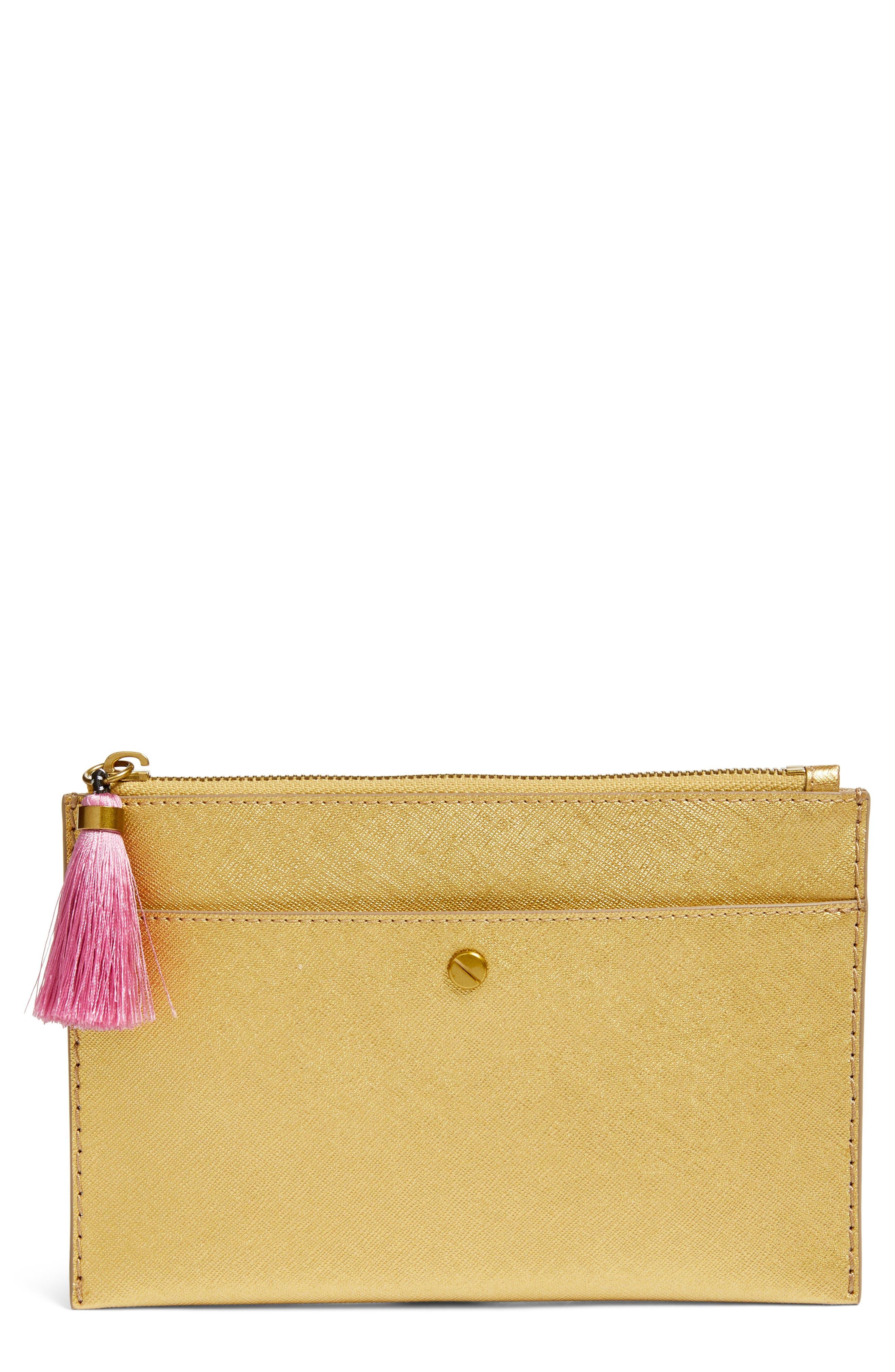 Medium Saffiano Leather Pouch,                         Main,                         color, Dark Gold