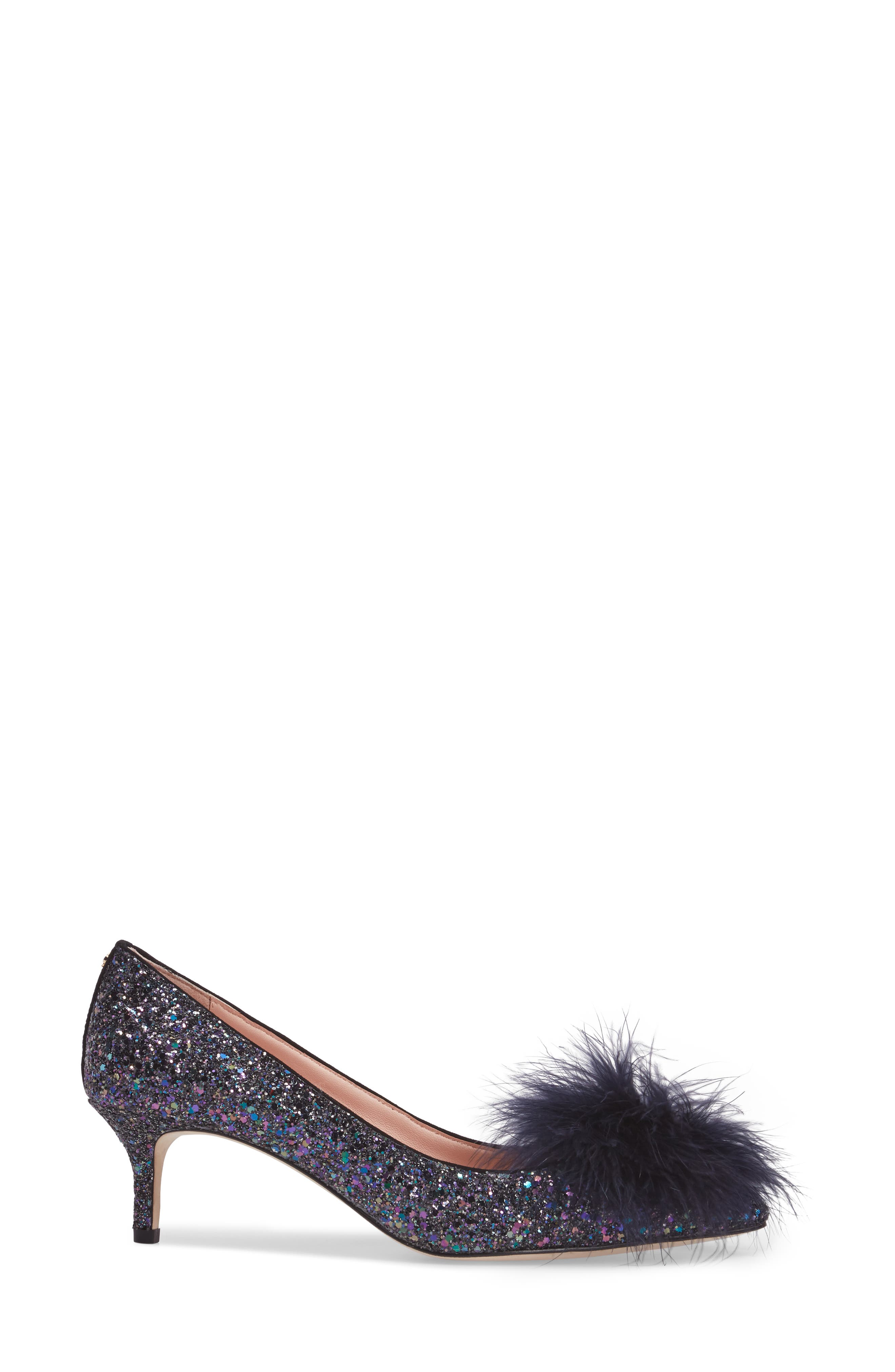 maribou pouf glitter pump,                             Alternate thumbnail 3, color,                             Midnight