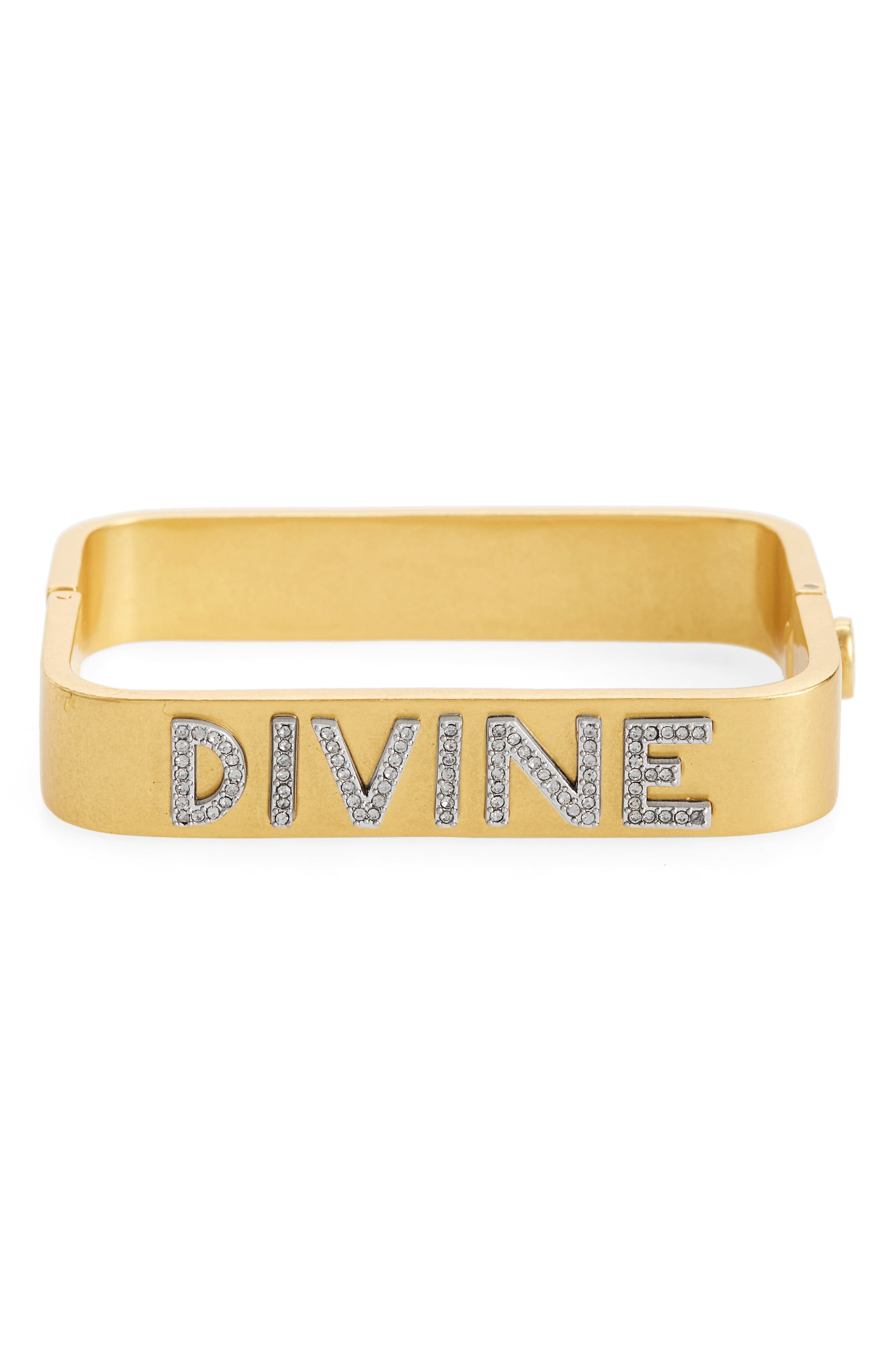 Divine Message Rectangular Bracelet,                         Main,                         color, Vintage Gold