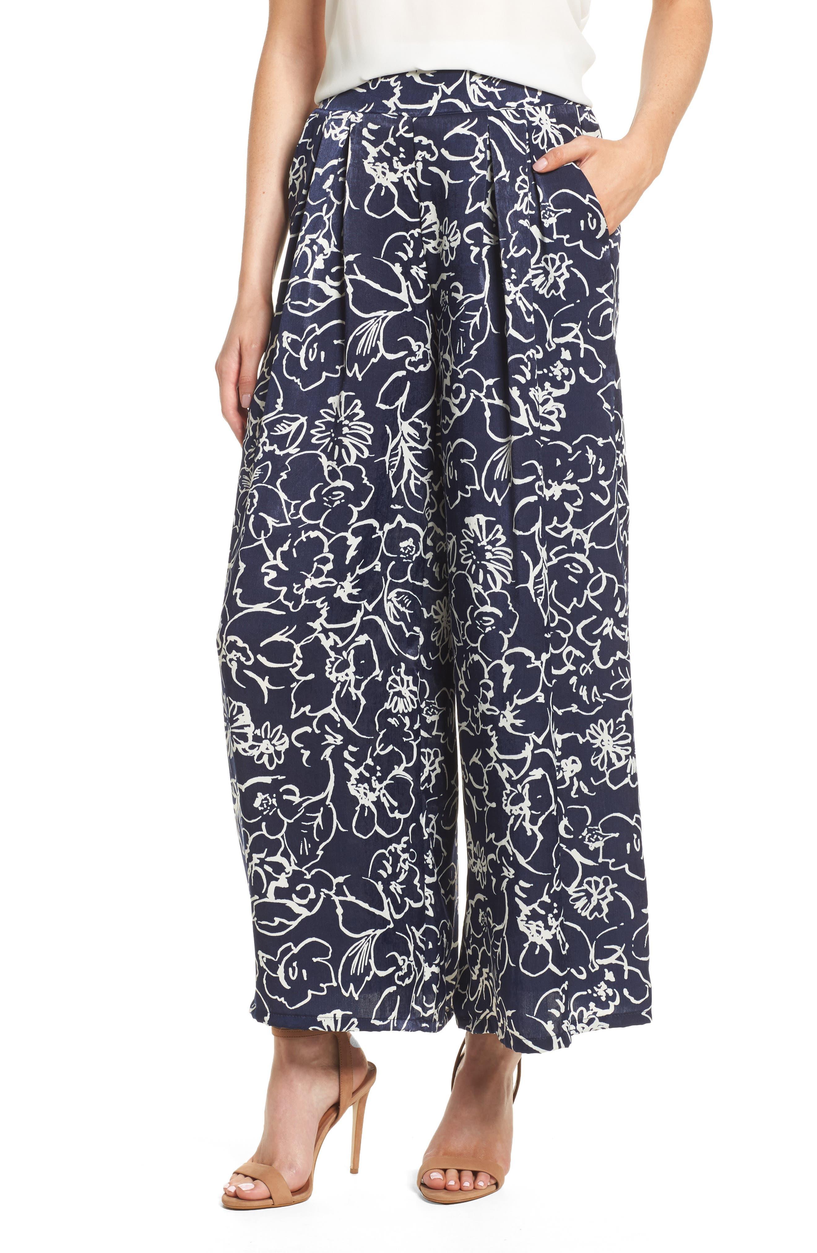 Sedona Pants,                         Main,                         color, Navy/ White