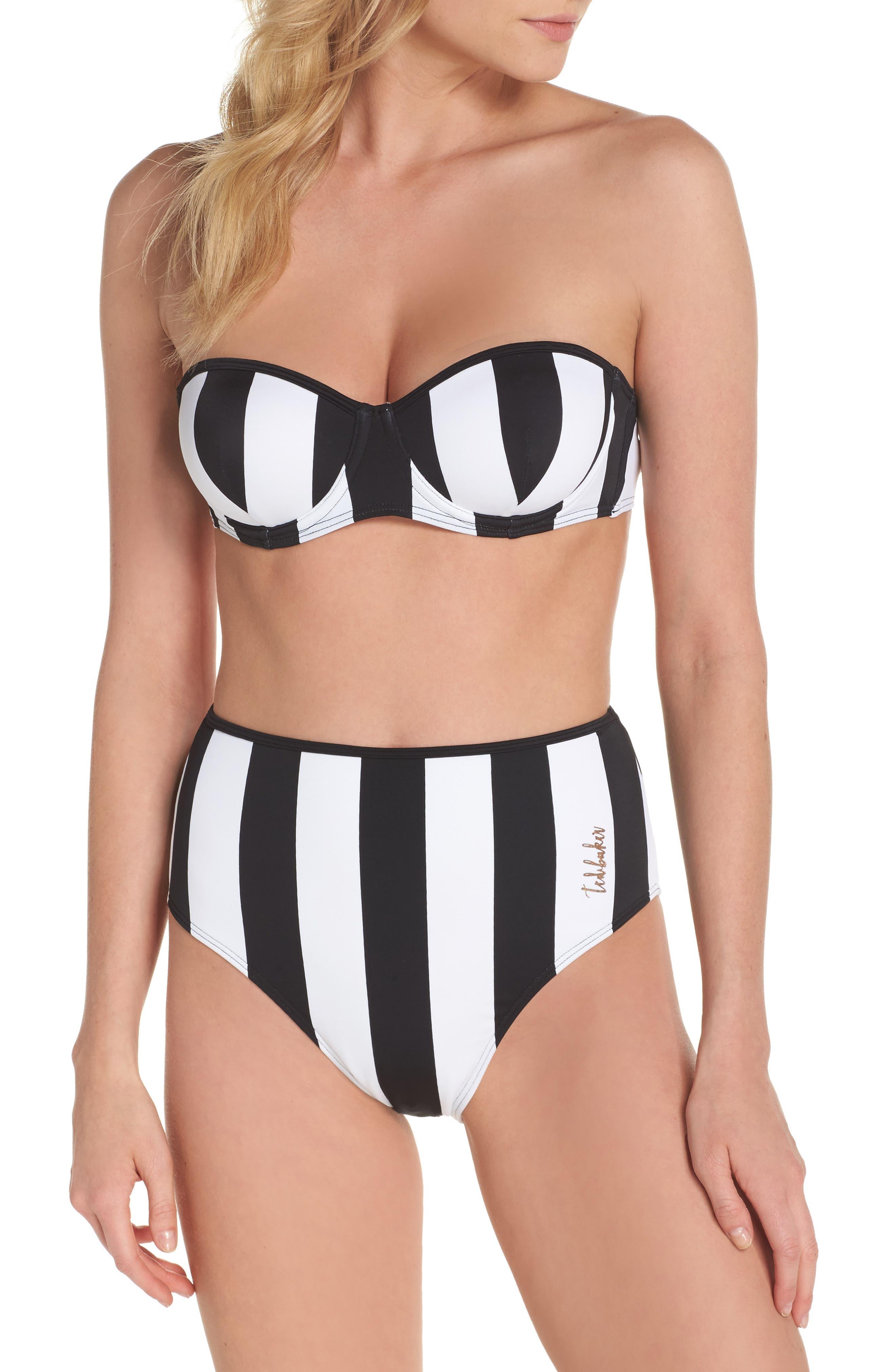 Alternate Image 6  - Ted Baker London Monochrome Stripe Underwire Bikini Top