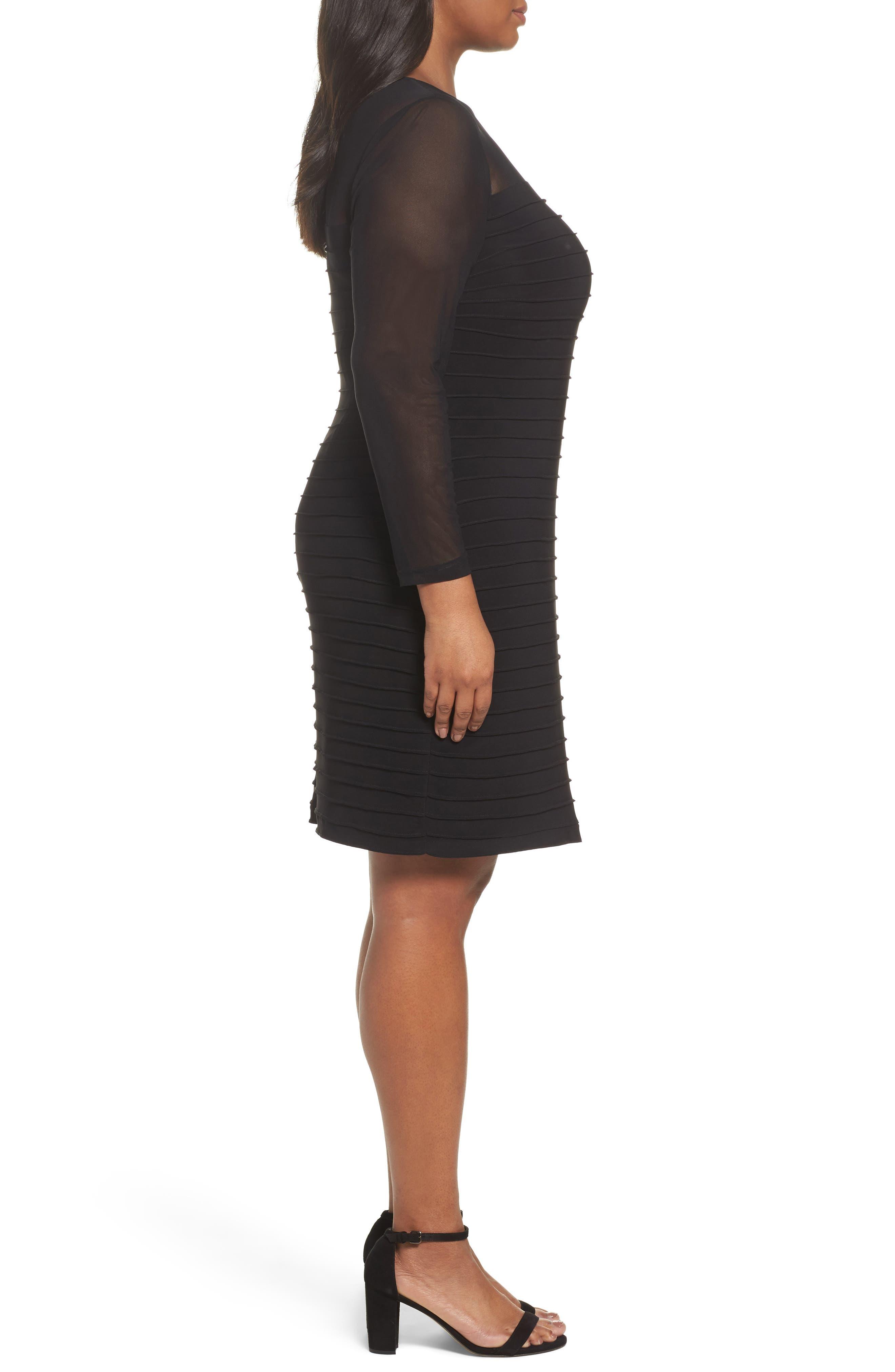 Pintuck Sheath Dress,                             Alternate thumbnail 3, color,                             Black