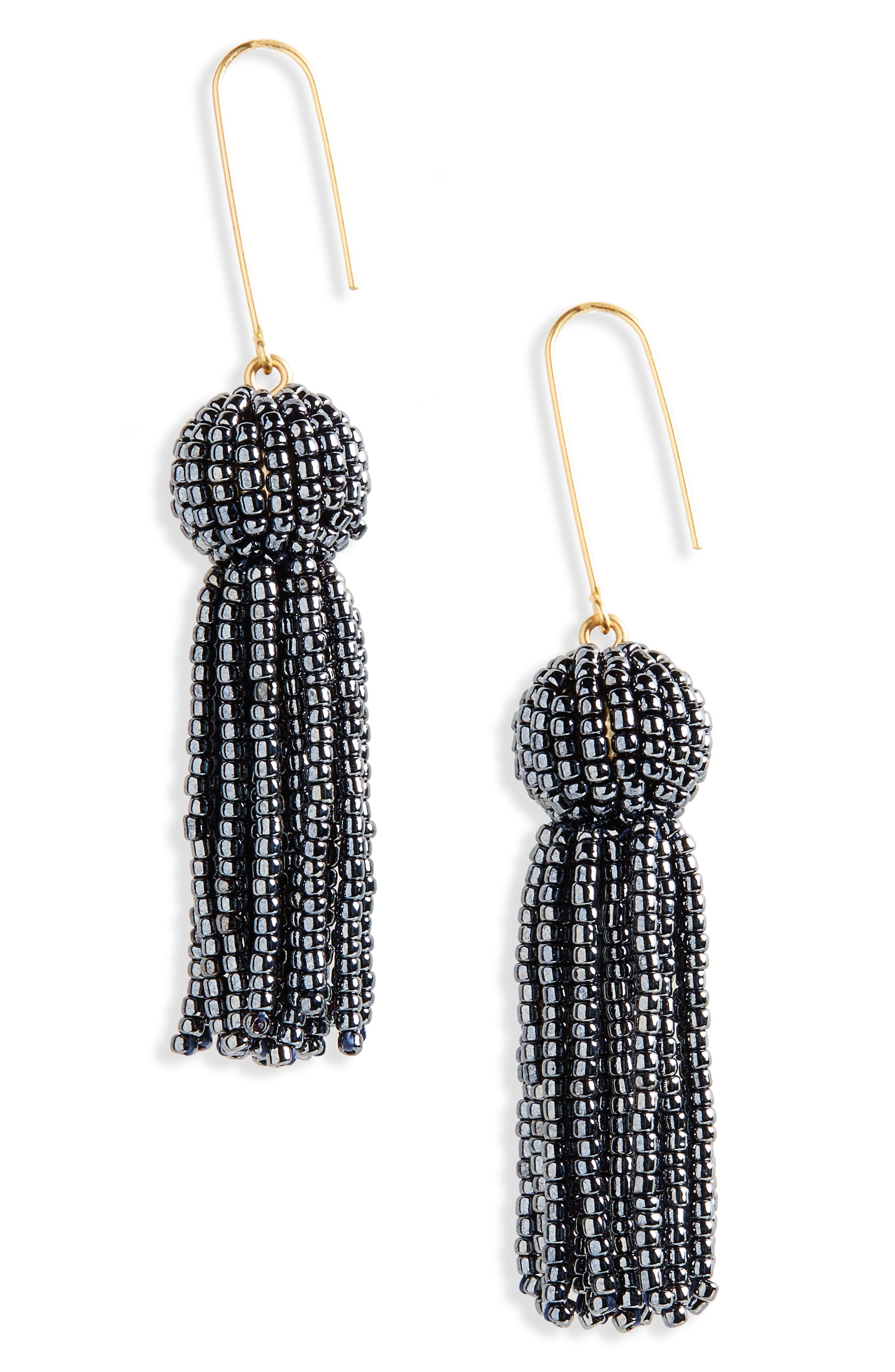 Madewell Bead Tassel Drop Earrings