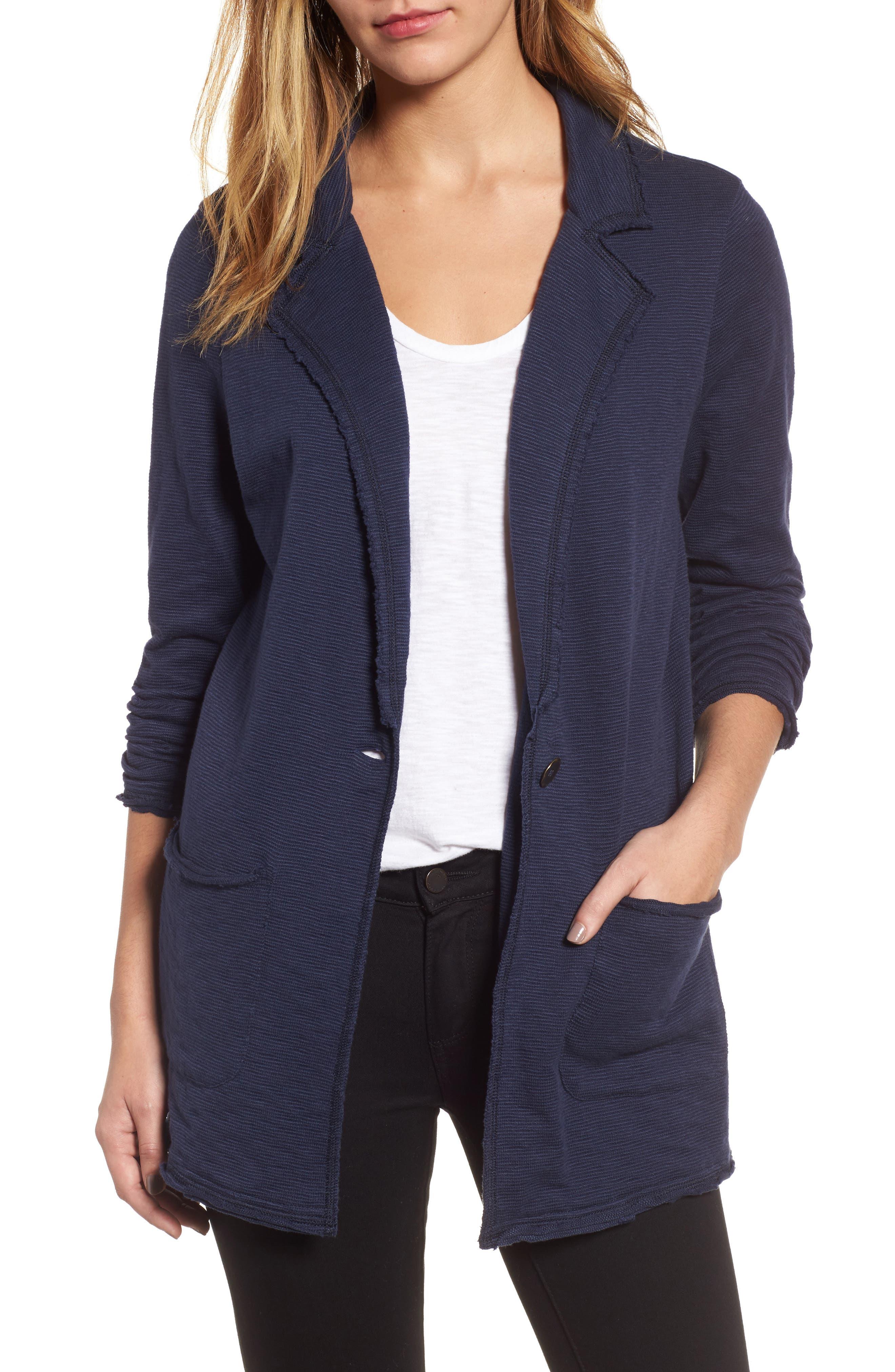 Caslon® Knit Boyfriend Blazer (Regular & Petite)