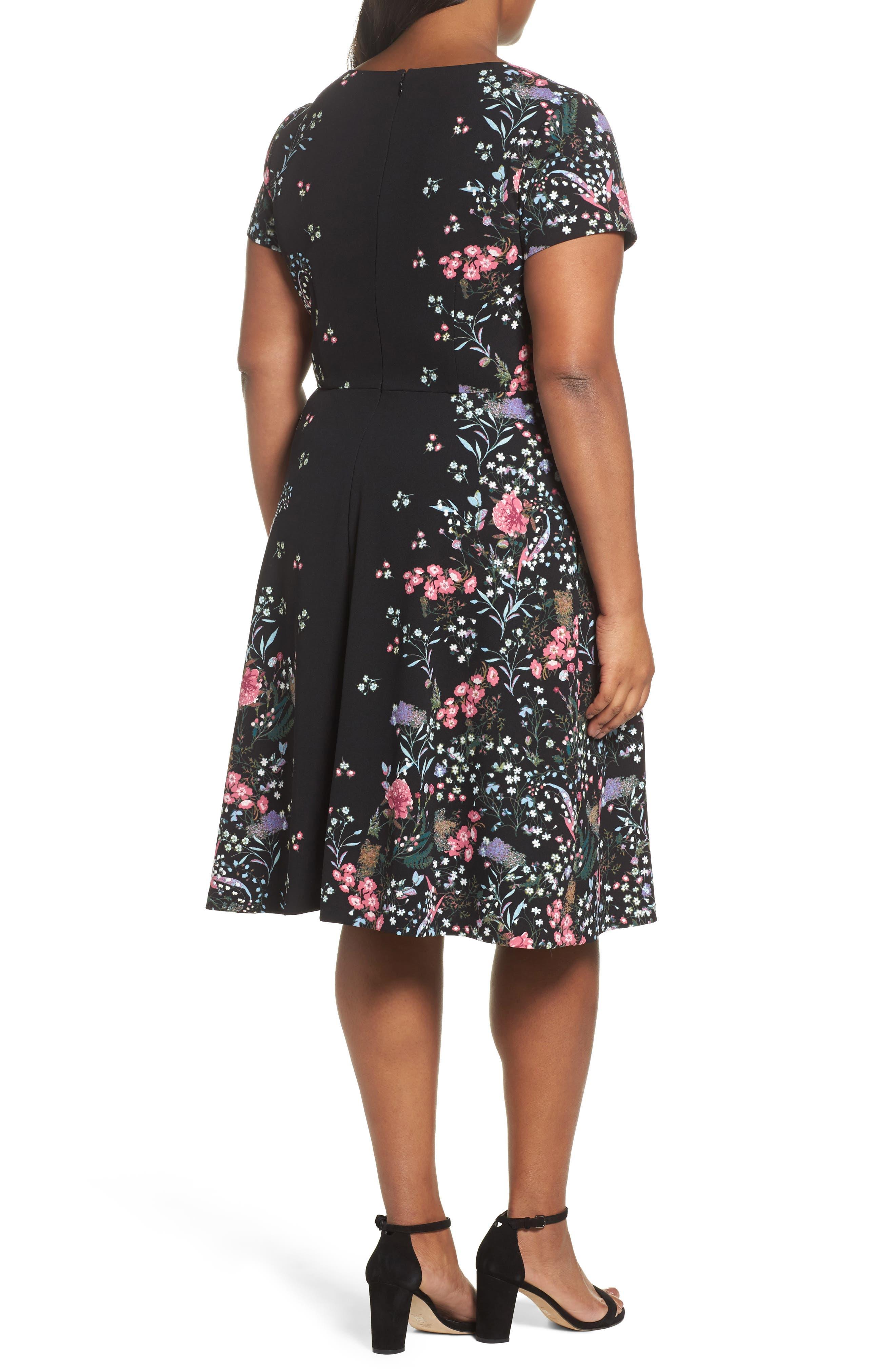 Print Scuba Knit Fit & Flare Dress,                             Alternate thumbnail 2, color,                             Black Multi