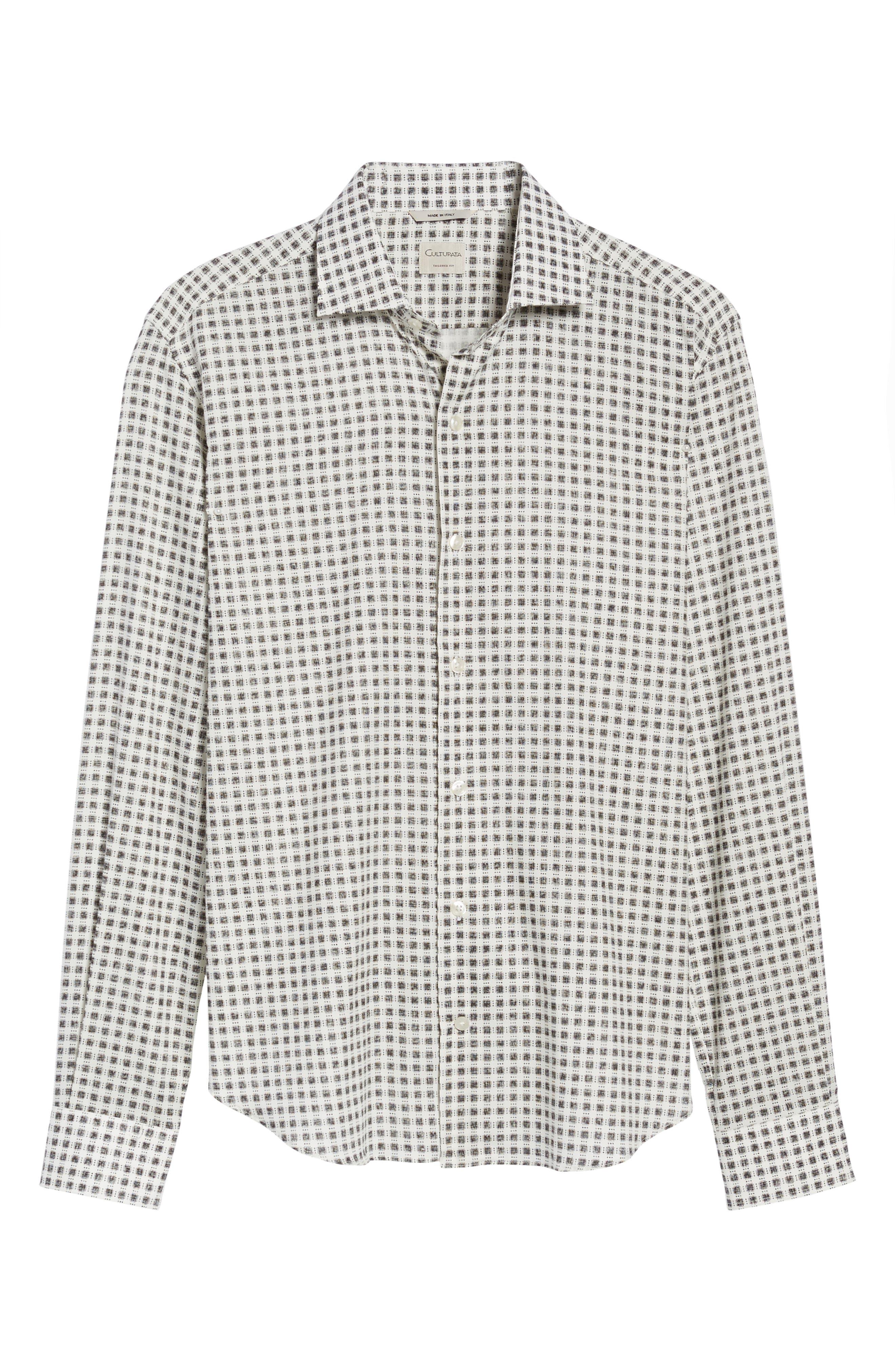 Square Print Sport Shirt,                             Alternate thumbnail 6, color,                             White