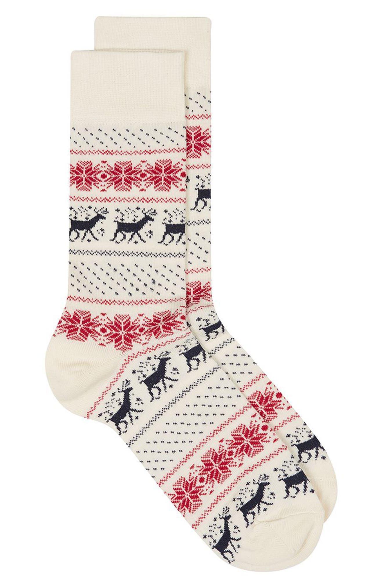 Topman Christmas Fair Isle Reindeer Socks