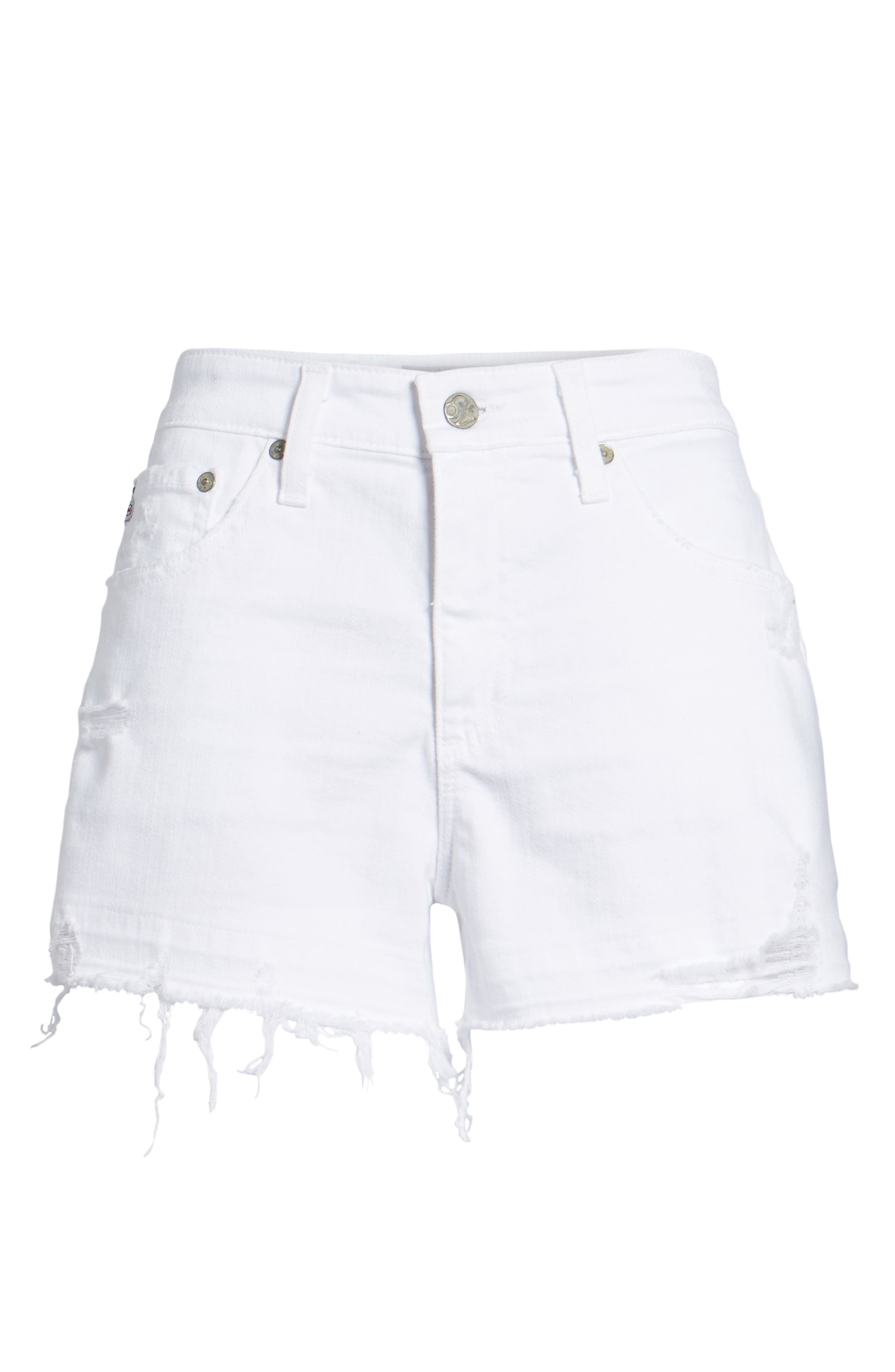 Bryn High Rise Cutoff Denim Shorts,                             Alternate thumbnail 6, color,                             5 Years Tattered White