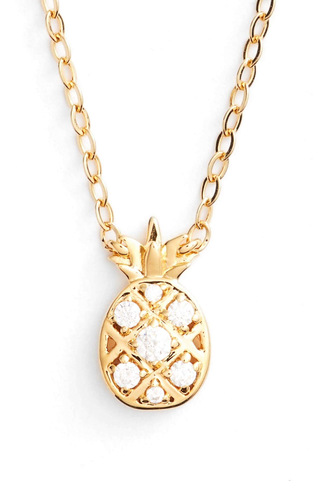 Reminisce Cubic Zirconia Pineapple Pendant Necklace,                             Main thumbnail 1, color,                             Gold