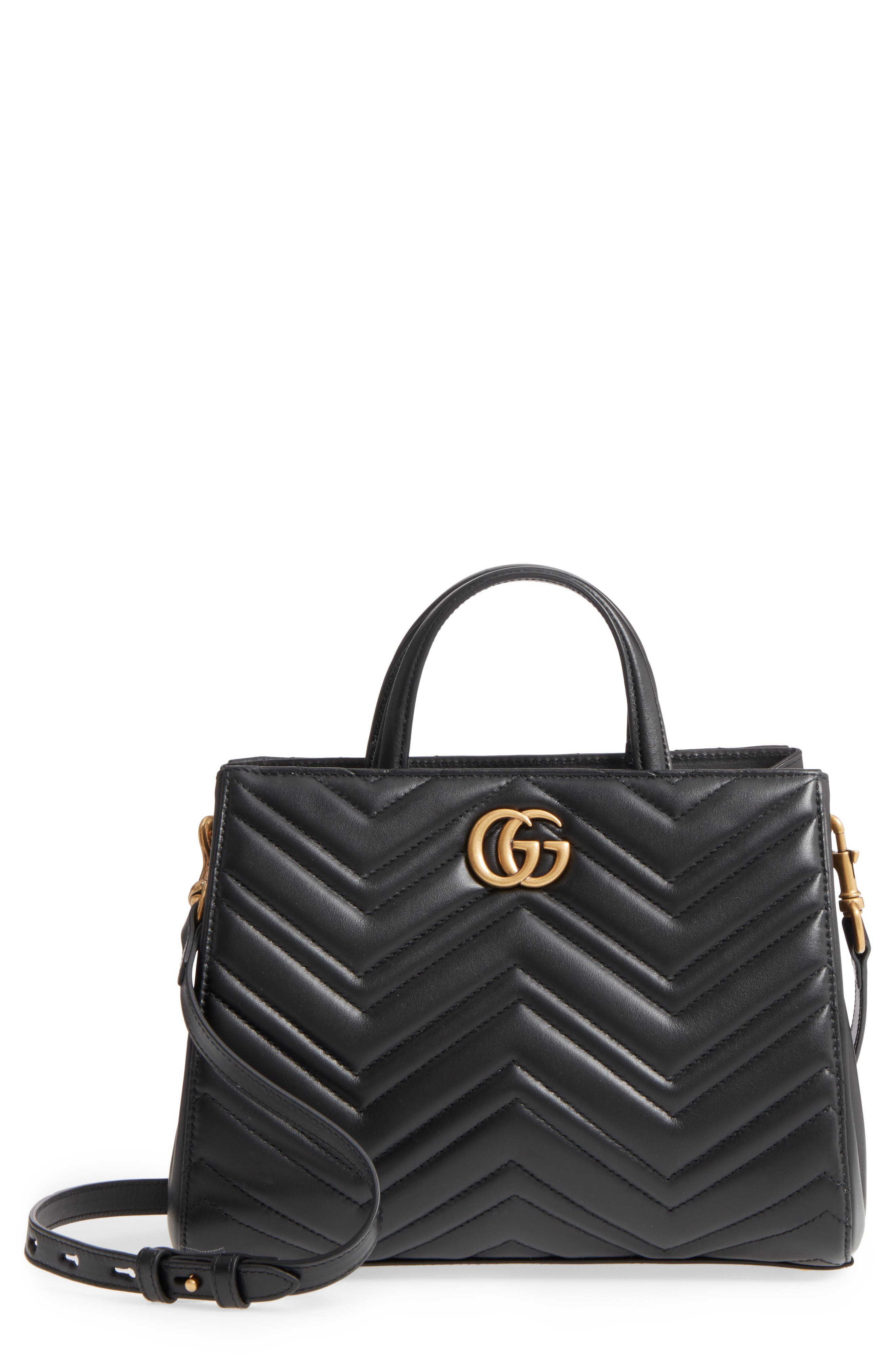 GG Small Marmont 2.0 Matelassé Leather Top Handle Satchel,                         Main,                         color, Nero/ Nero