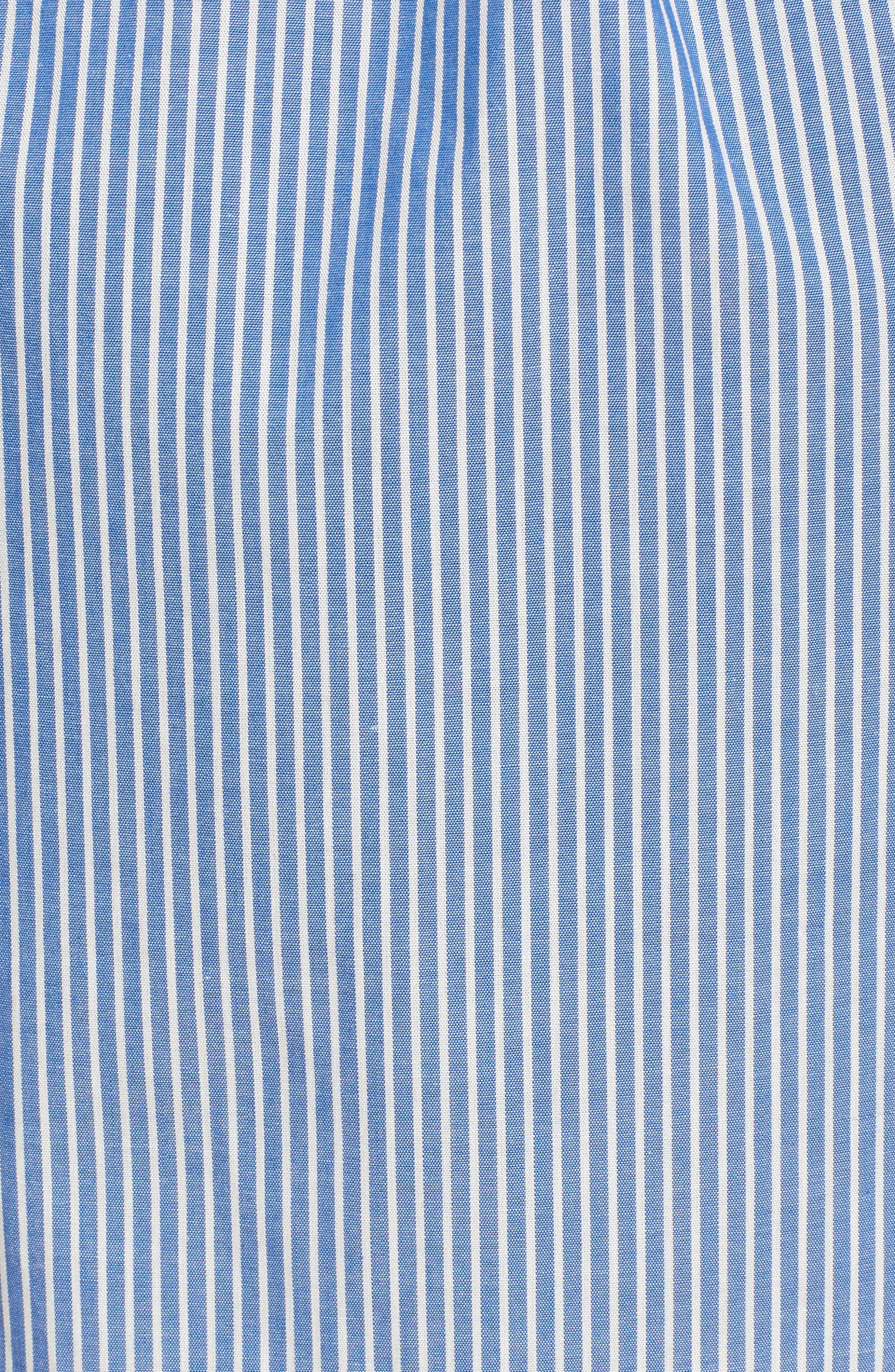 Cotton Poplin Wrap Dress,                             Alternate thumbnail 5, color,                             Blue White Stripe