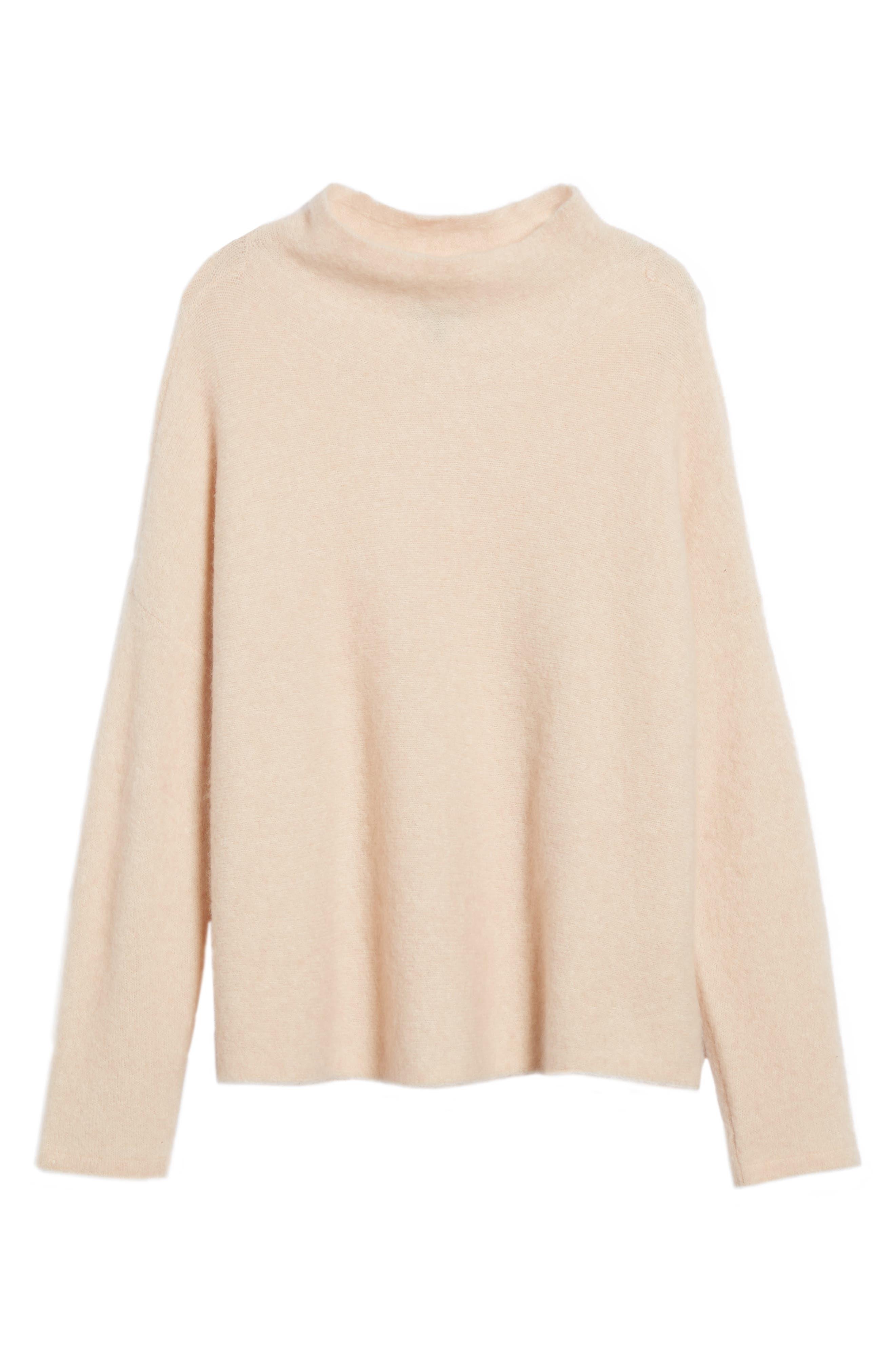 'Bouclé Bliss' Cashmere & Silk Blend Funnel Neck Sweater,                             Alternate thumbnail 6, color,                             Dune