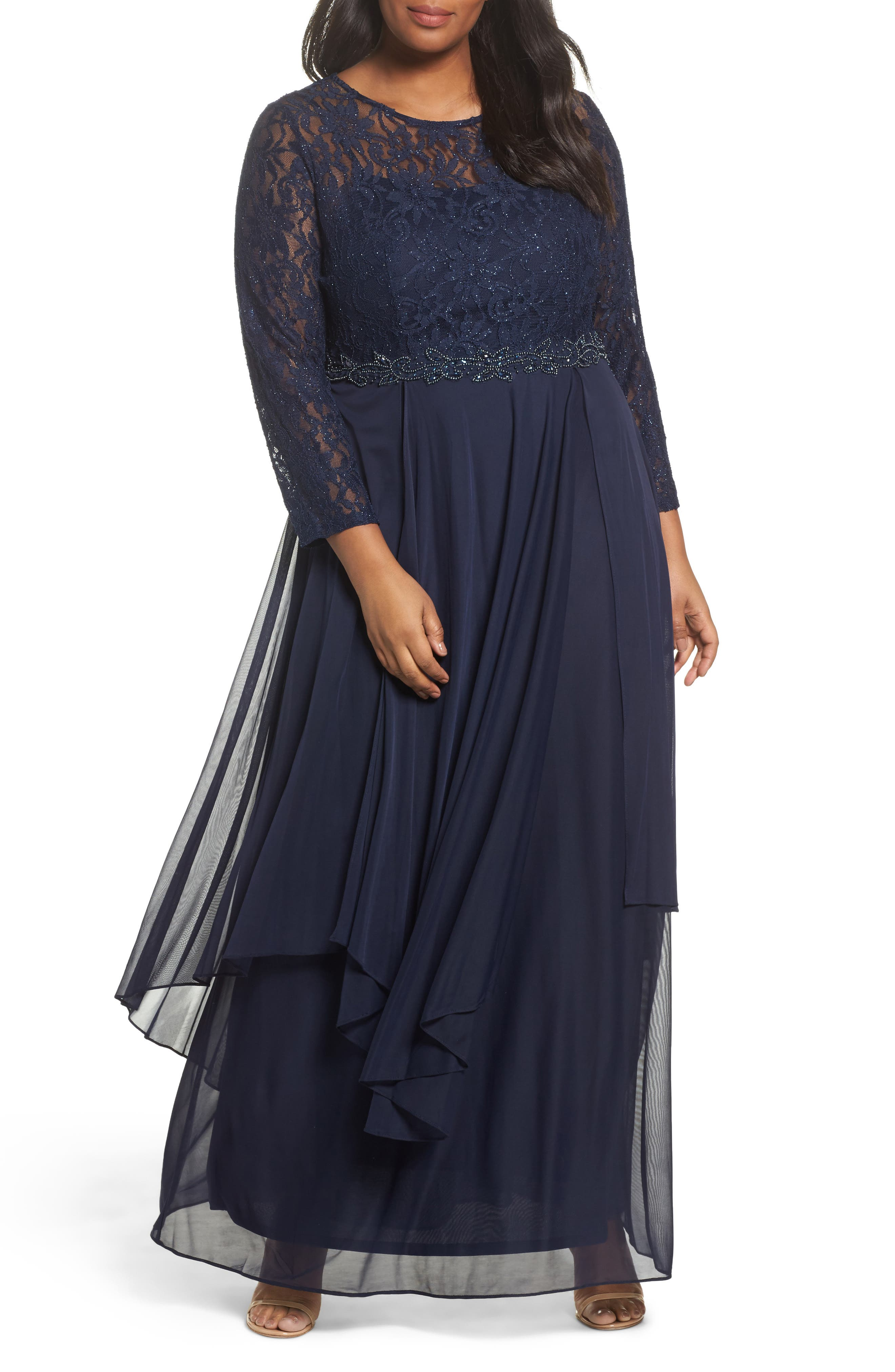Lace & Mesh Gown,                         Main,                         color, Navy