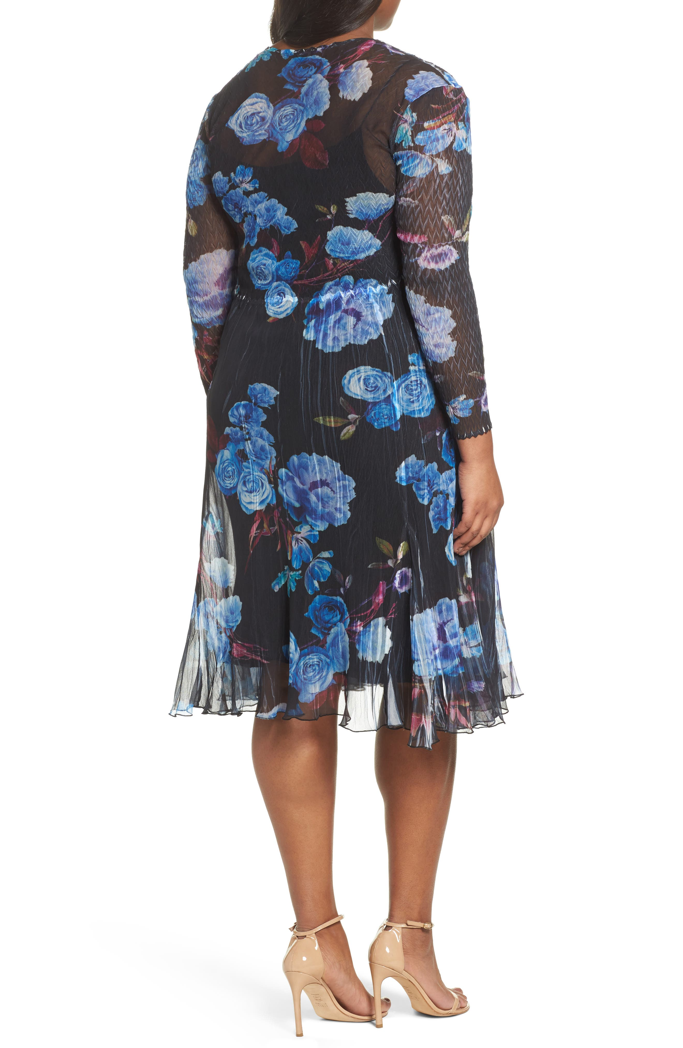 Floral Charmeuse & Chiffon A-Line Dress,                             Alternate thumbnail 2, color,                             Midnight Aurora