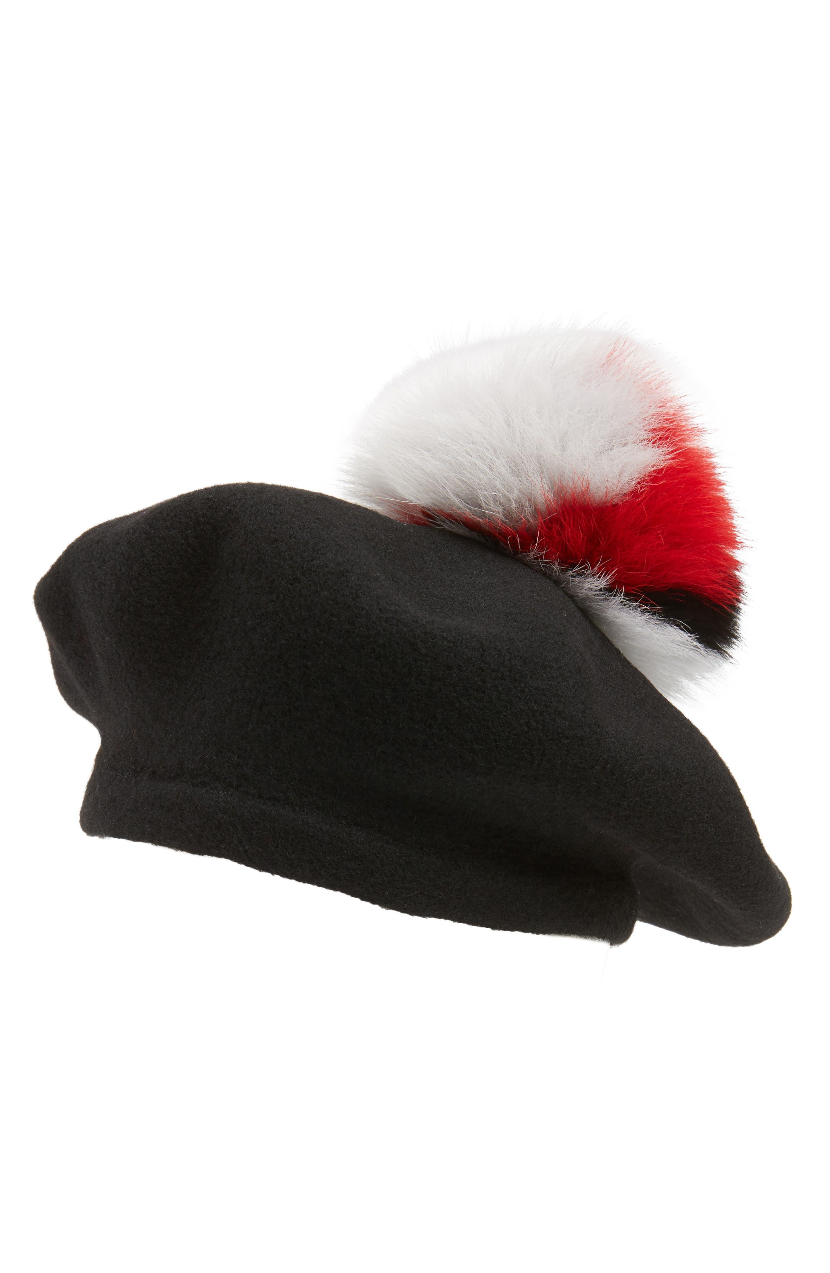 Helene Berman Wool Beret with Genuine Fox Fur Pom