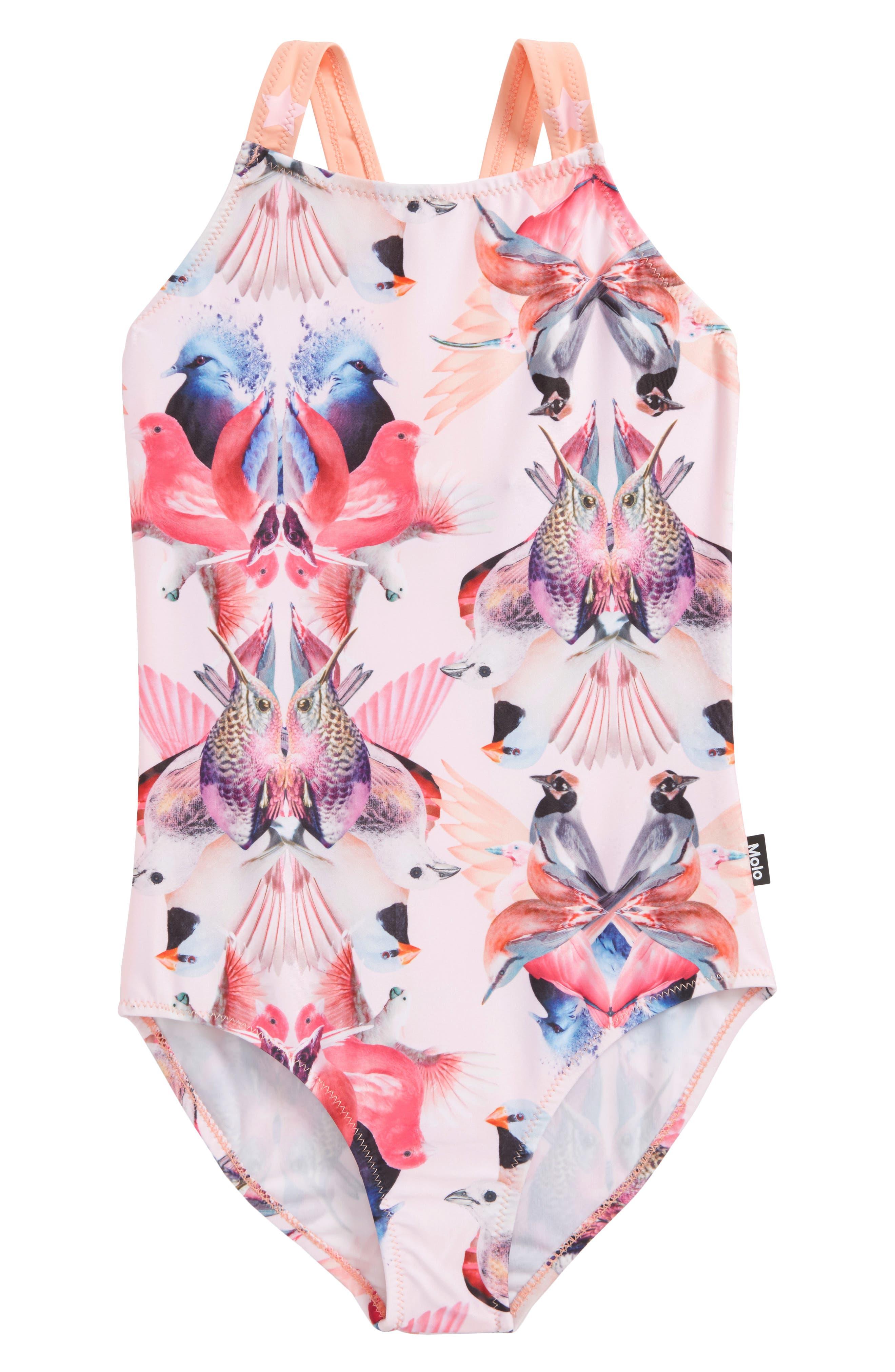 Nakia One-Piece Swimsuit,                         Main,                         color, Mirror Birds