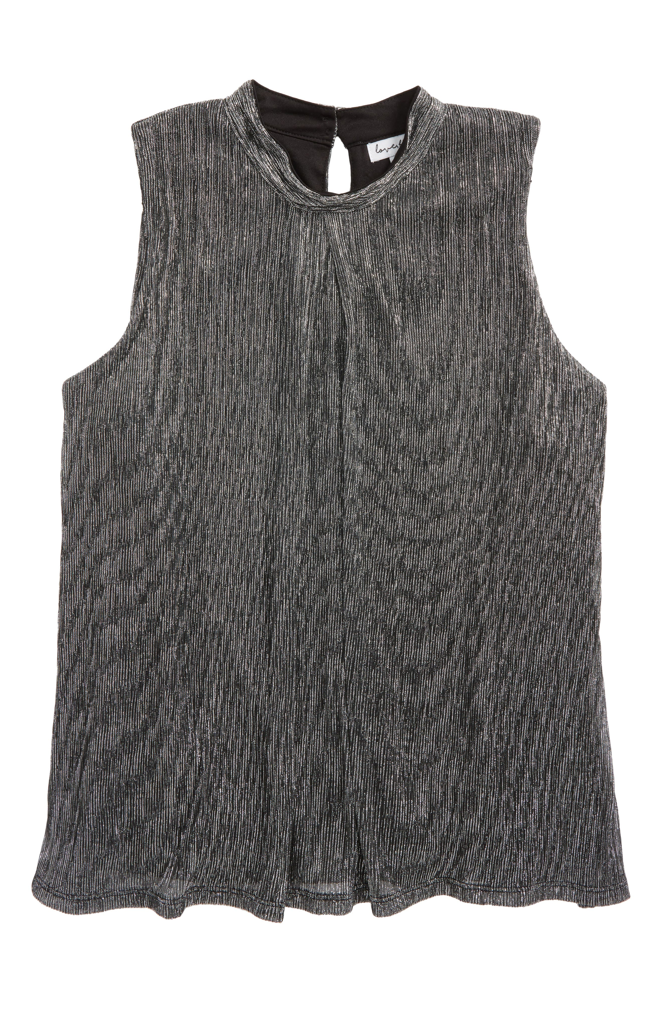 Pleated Shimmer Top,                         Main,                         color, Silver