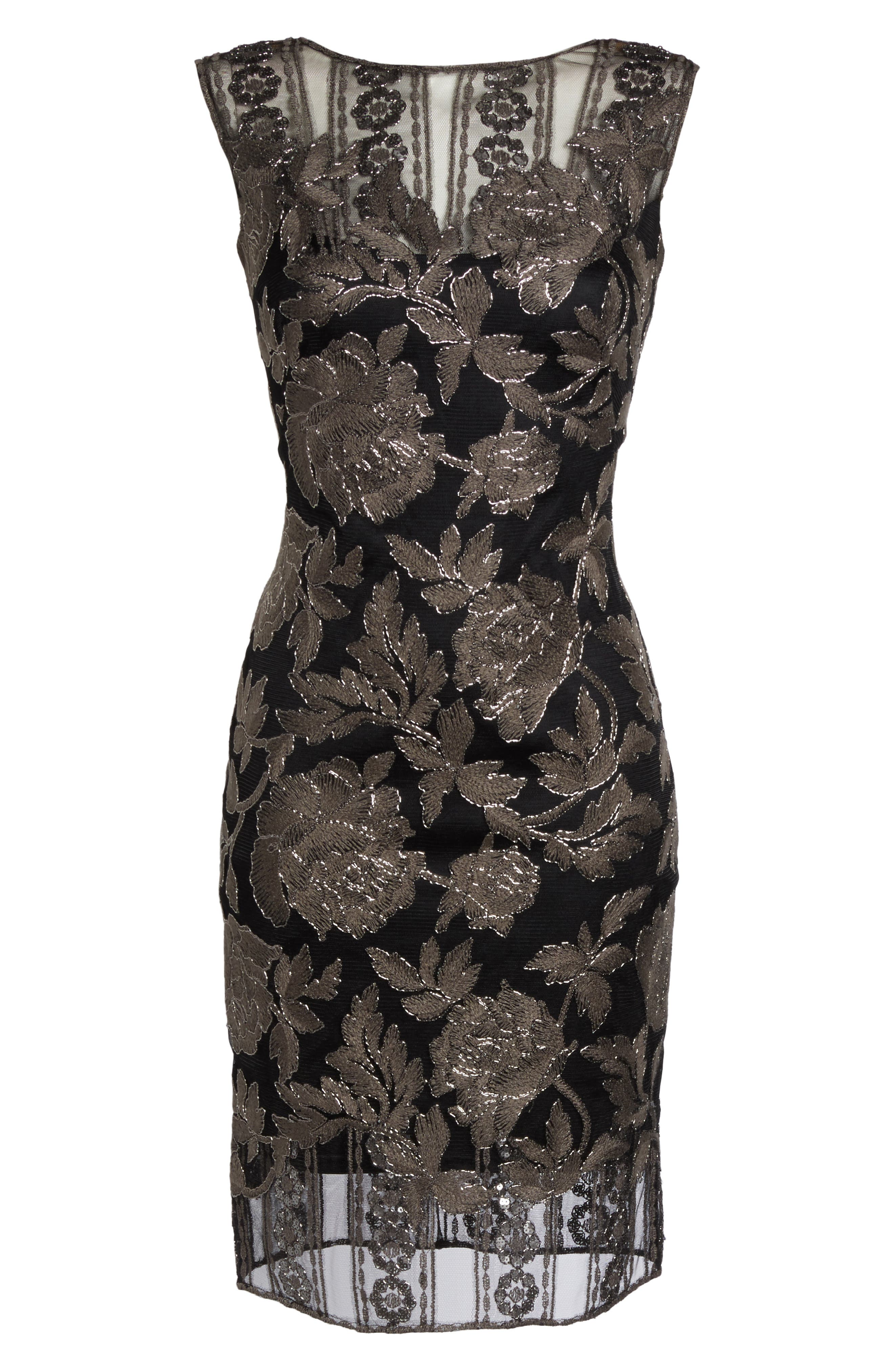 Embroidered Lace Sheath Dress,                             Alternate thumbnail 6, color,                             Dark Pearl/ Black