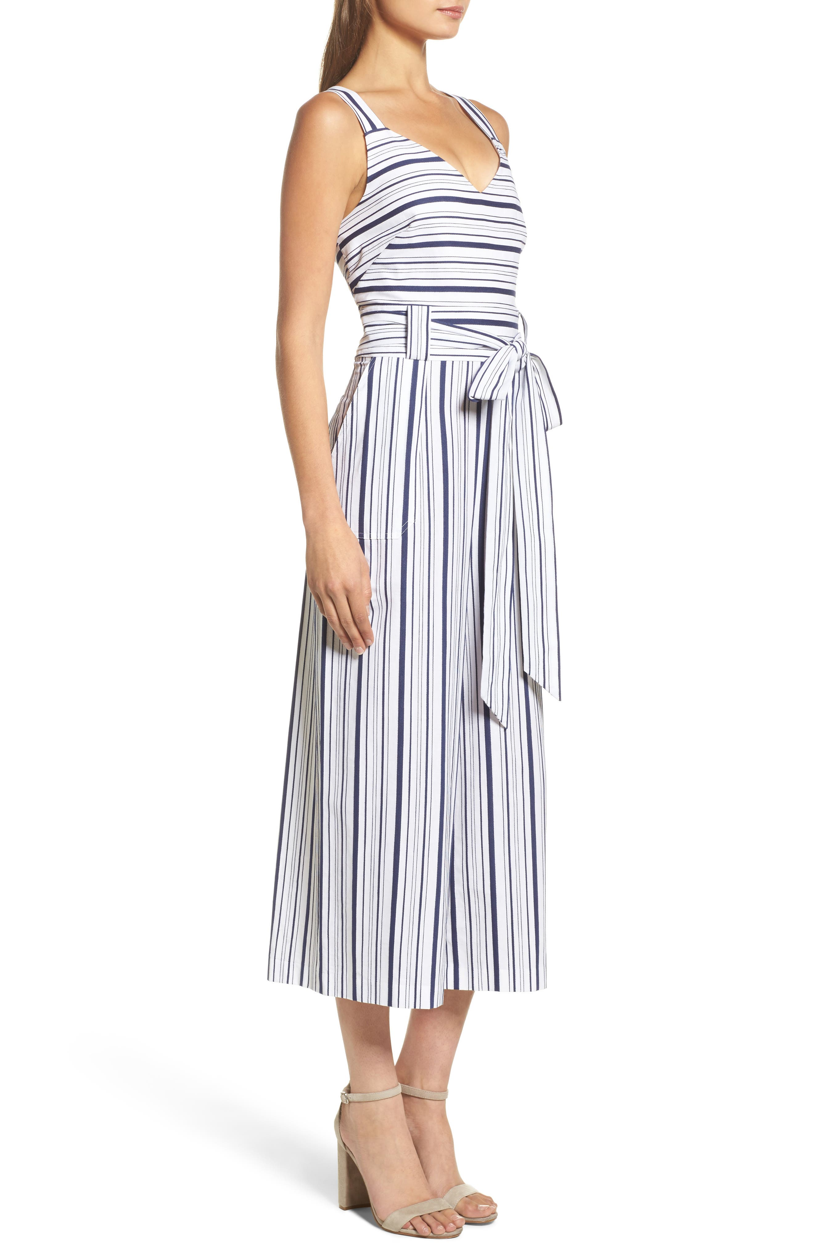 Stripe Culotte Jumpsuit,                             Alternate thumbnail 3, color,                             Blue/ White Ella Stripe