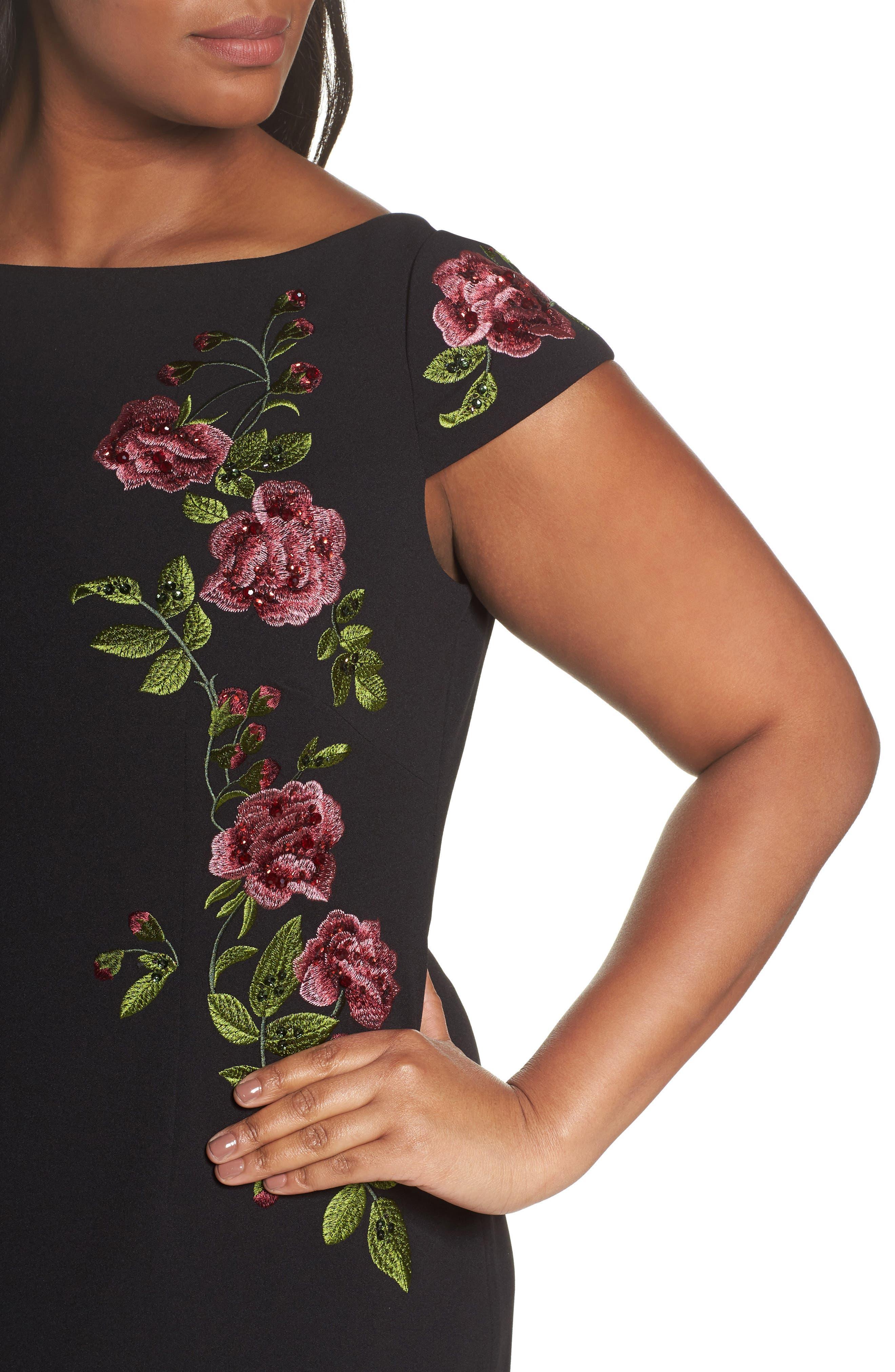 Flower Embroidered Crepe Sheath Dress,                             Alternate thumbnail 4, color,                             Black Multi